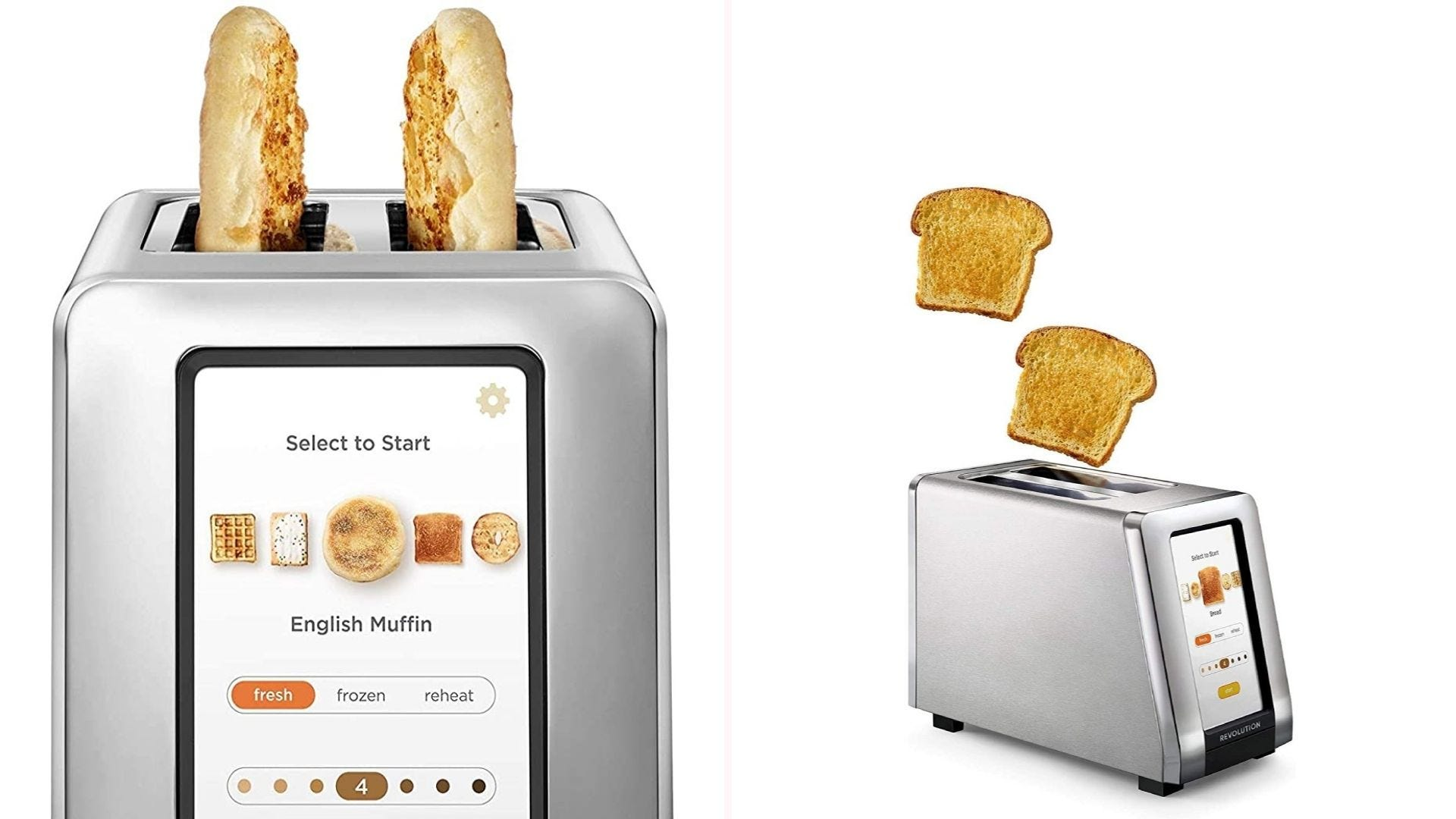 On the left is a close up view of a silver toaster's LCD interface, which showcases bread-type and browning settings. On the right, the toaster ejects two pieces of sandwich bread into the air.