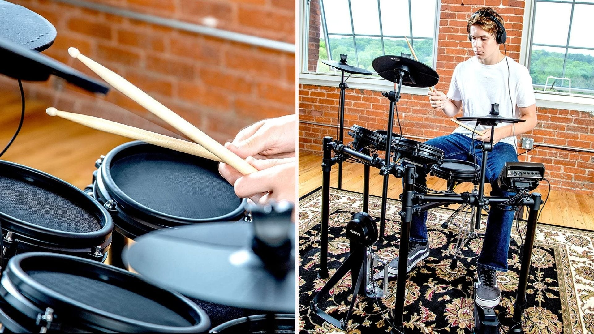 On the left, a close-up shot of drumsticks and electronic tom pads. On the right, a male drummer plays on electronic drum set with headphones.