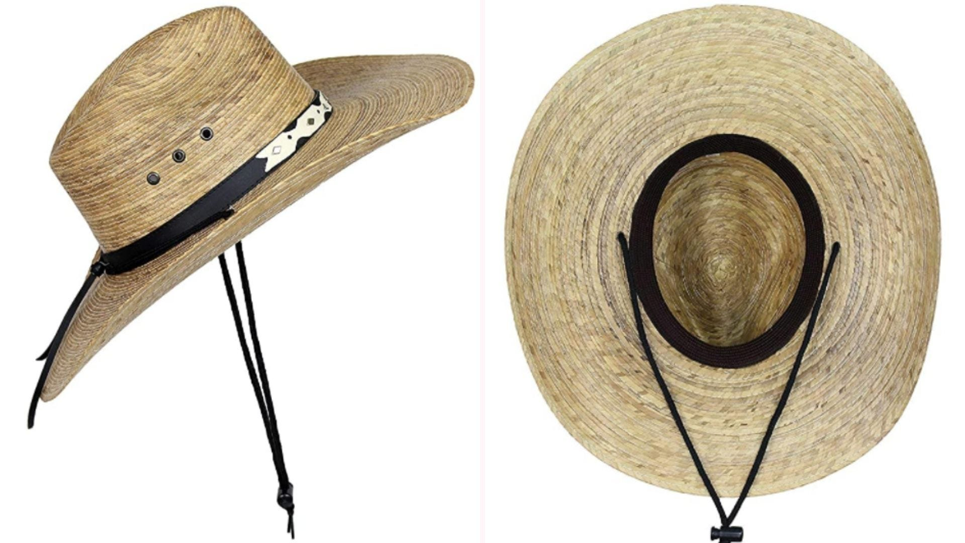 On the left, a cowboy had made from palm leaves features a faux leather hatband at the base of the crown and a 12-inch chinstrap. On the right is the underside of the hat, which features an elastic closure.