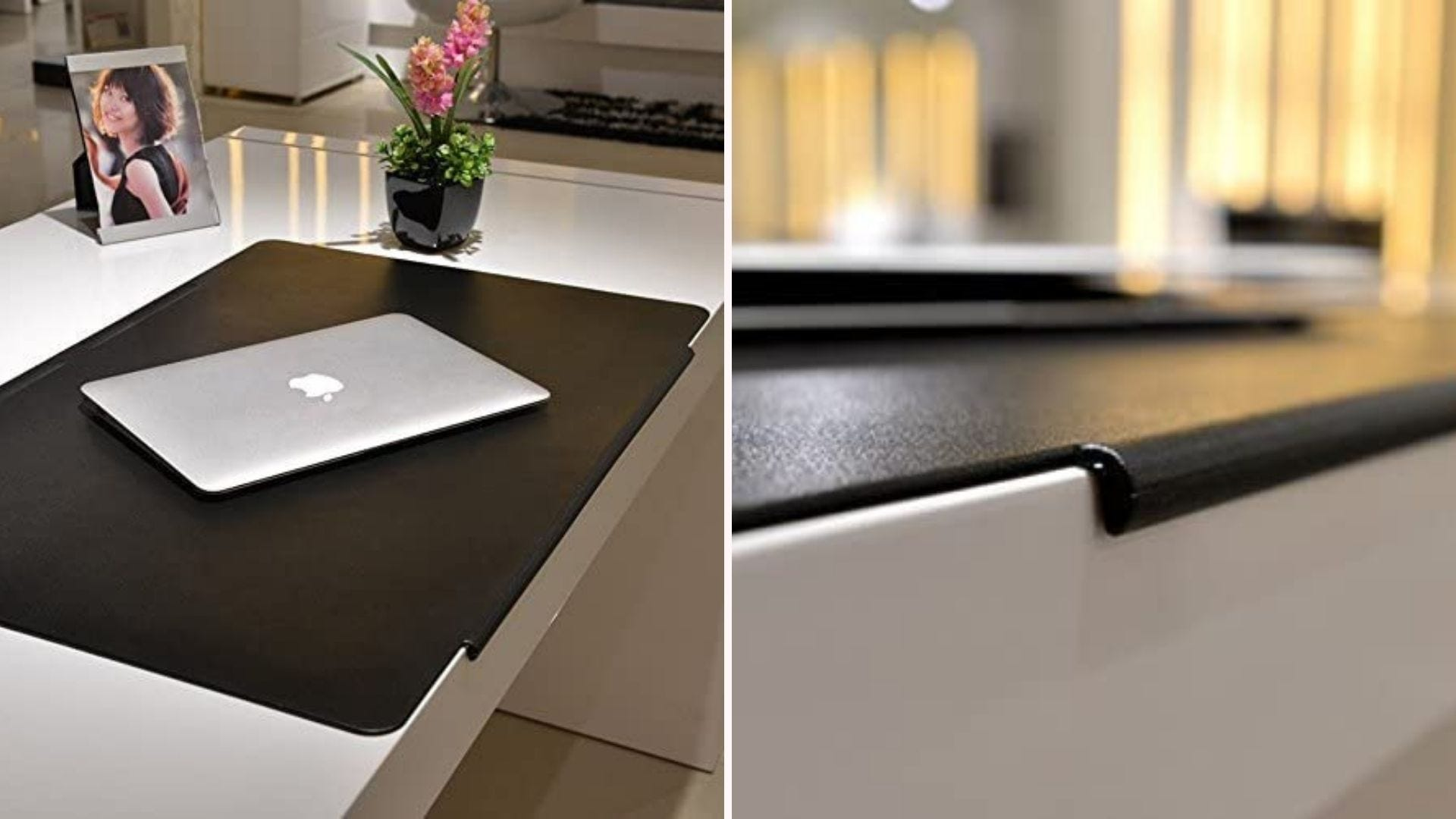 On the left, a black desk pad sits on a counter top. On the right, a close up view of the pad's hangover lip design, which wraps around the edge of the desk for a tighter hold.