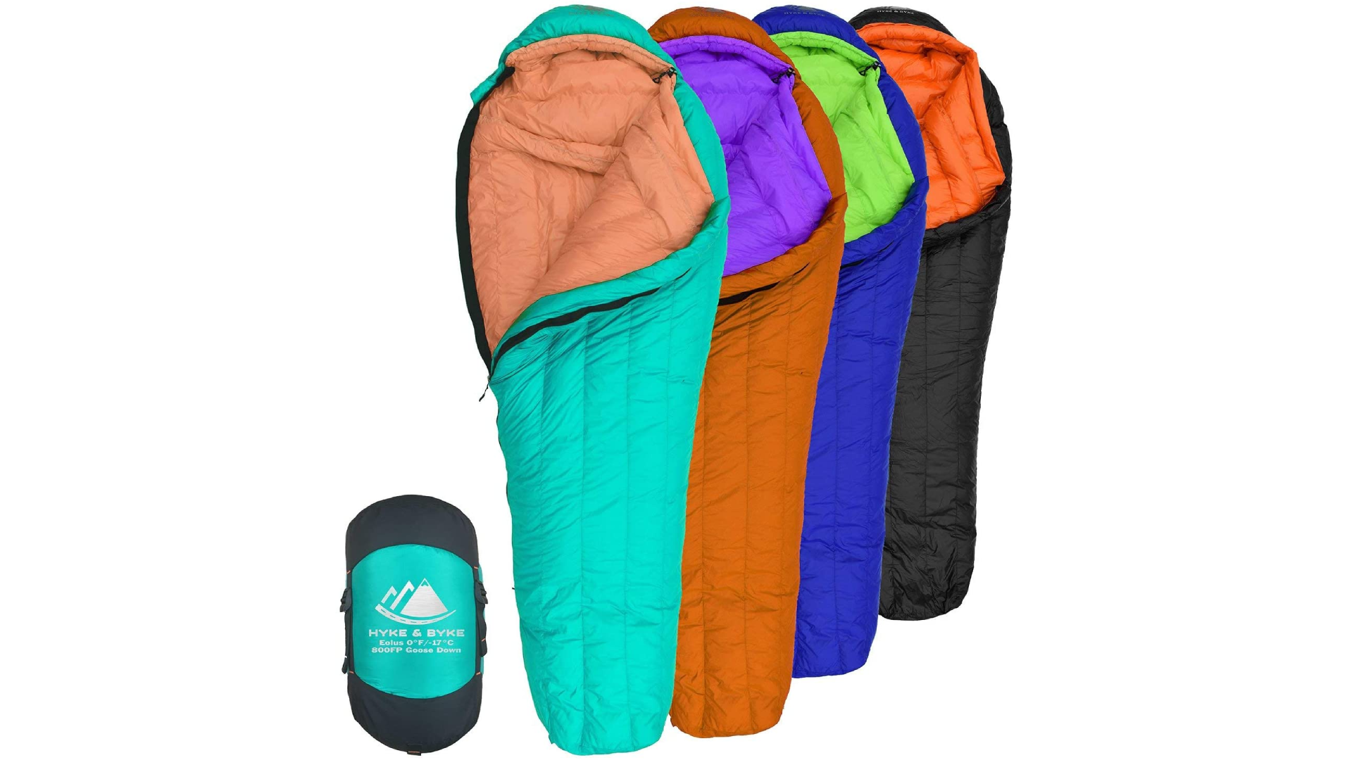 four colorful sleeping bags laid out and one rolled up and stuffed in a bag