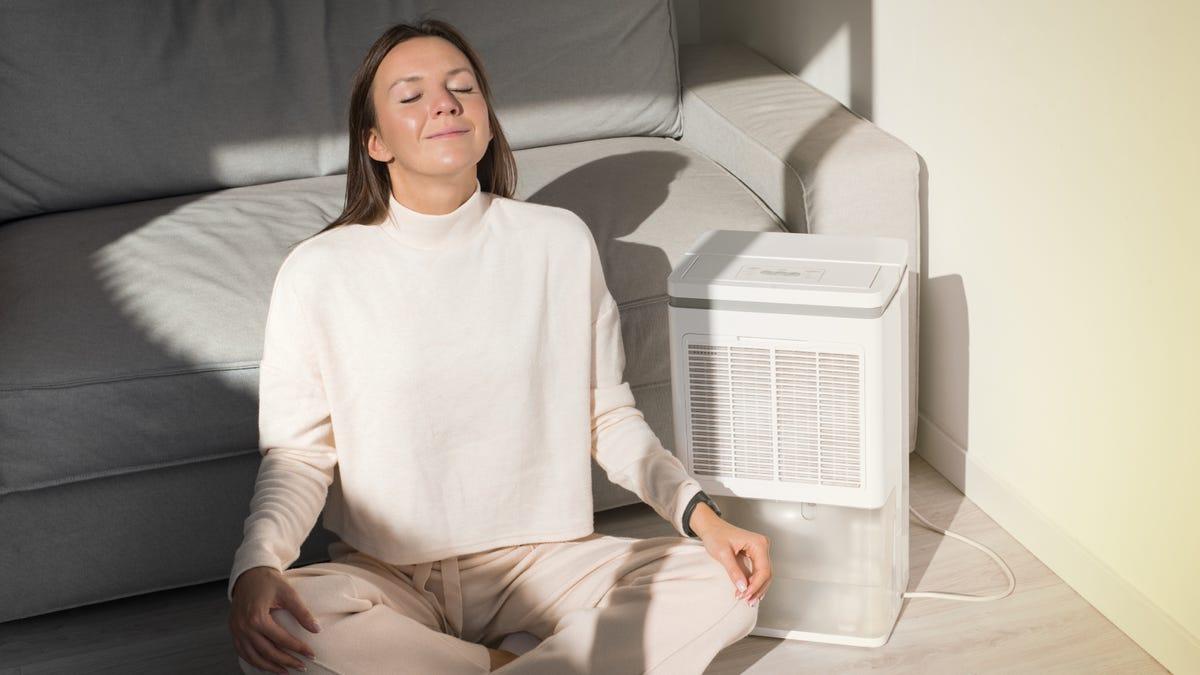 Woman breathing fresh air at home next to a dehumidifier.