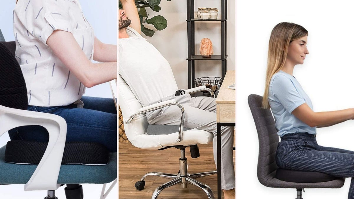 On the left, a woman sitting on an office chair with black seat and back cushions. In the center, a man stretching his arms while sitting on a grey cushion. On the right, a woman sitting on a black seat cushion and grey office chair.