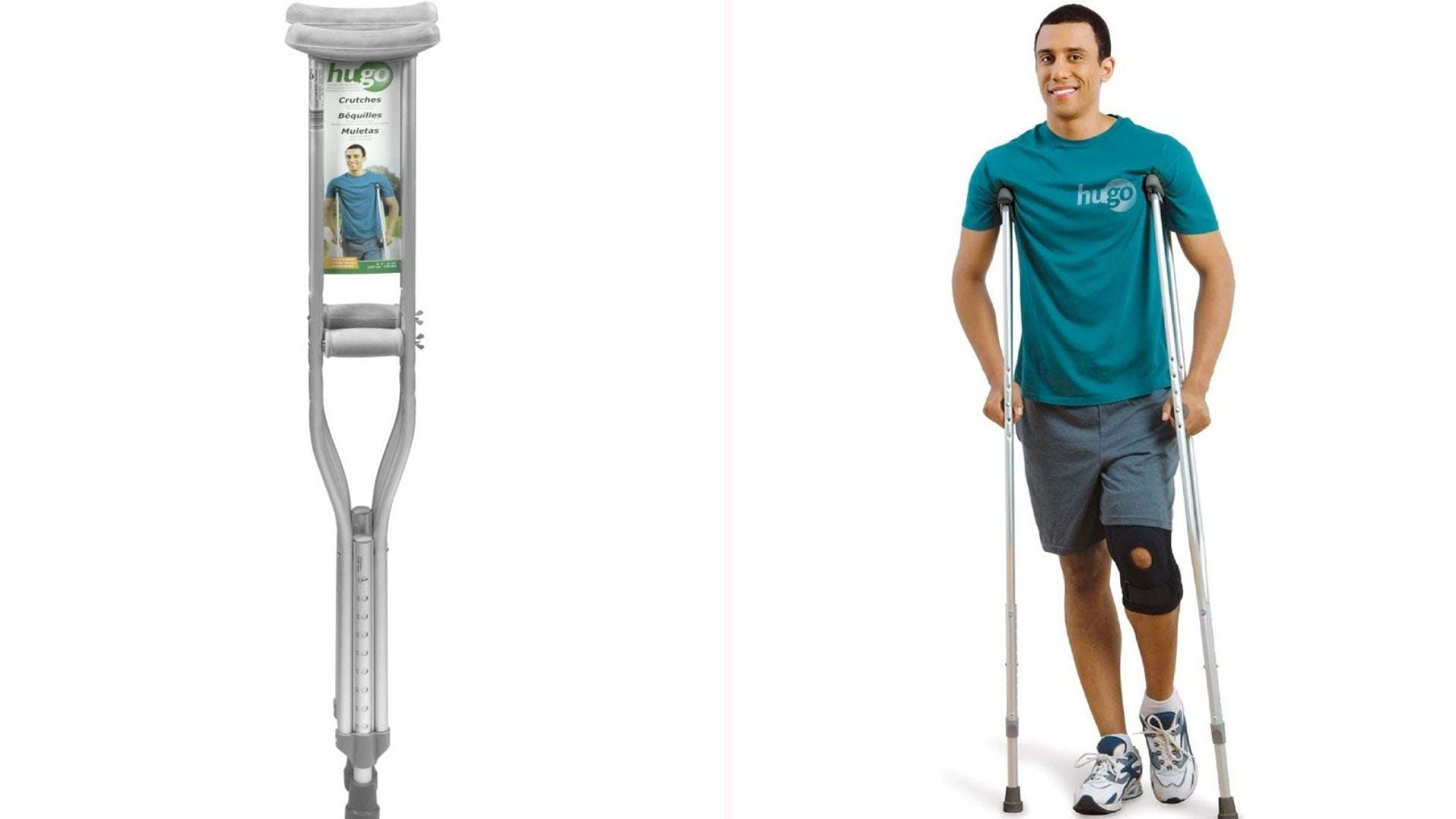 Man with teal-colored t-shirt and shorts using crutches.