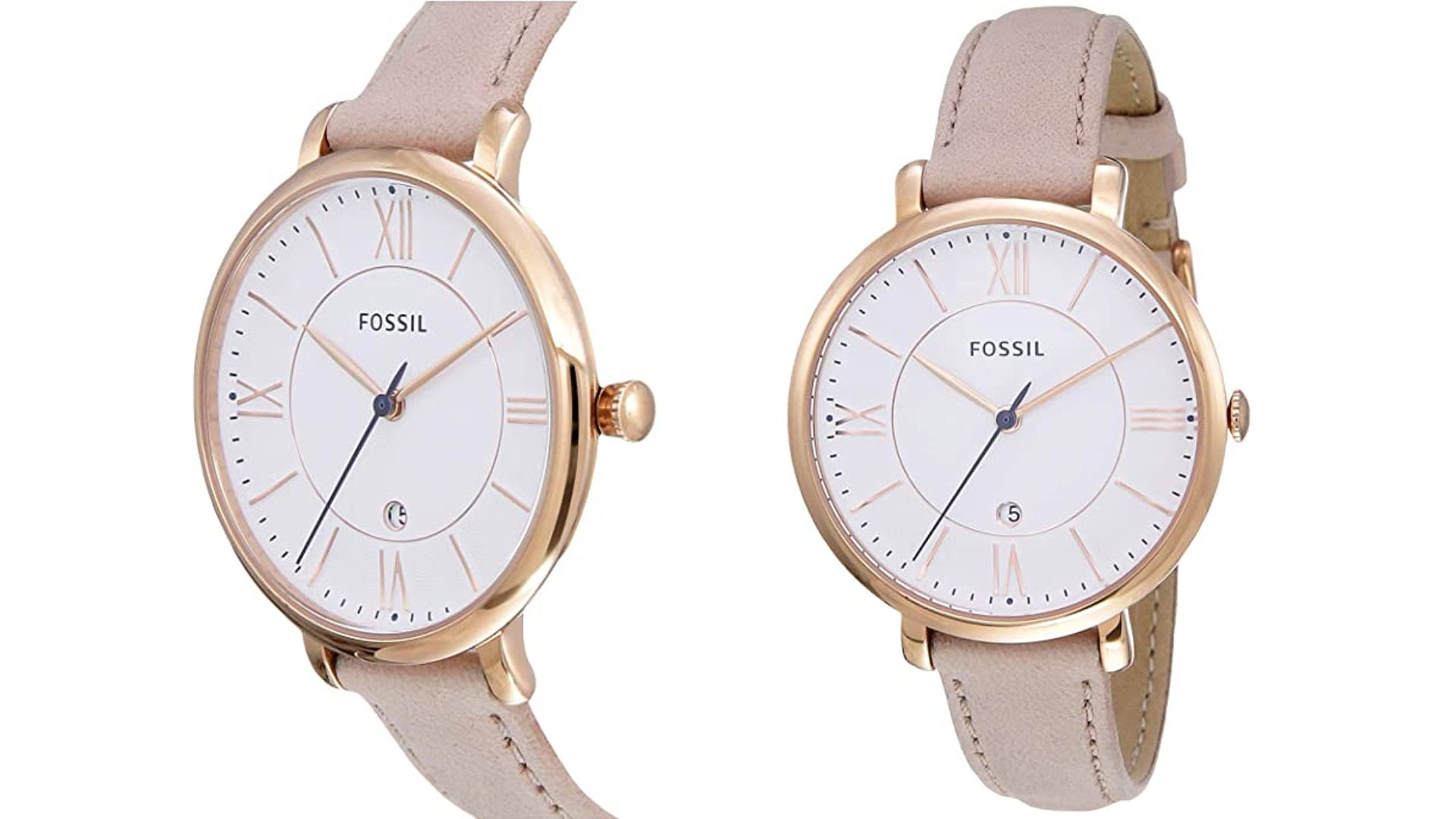 dual views side and front blush colored leather strap gold watch