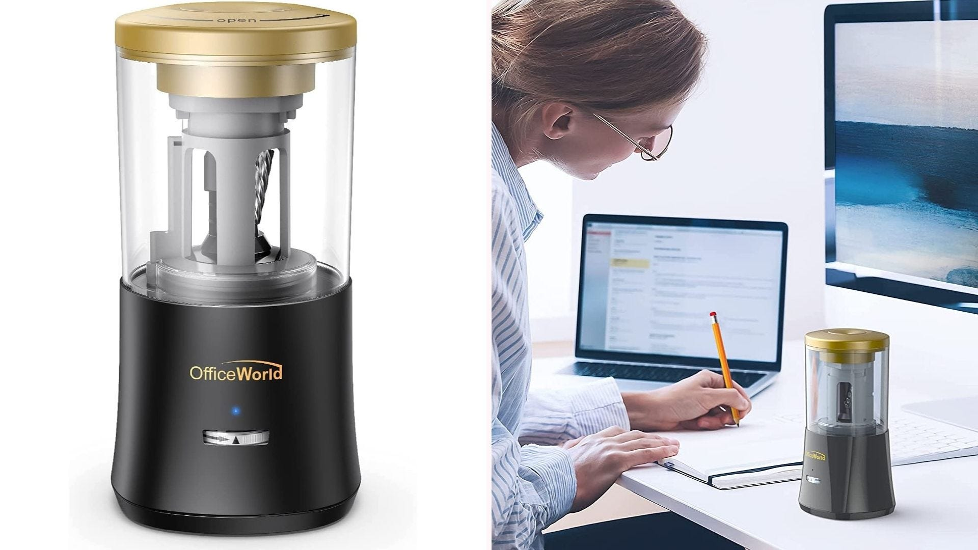 On the left, a tall electric sharpener. On the right, a woman writing at a desk with the sharpener sitting next to her.