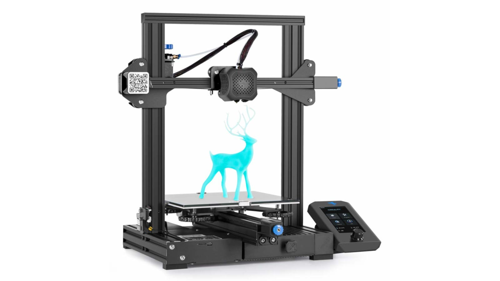 FFF 3D printer with blue stag printed on the center plate.