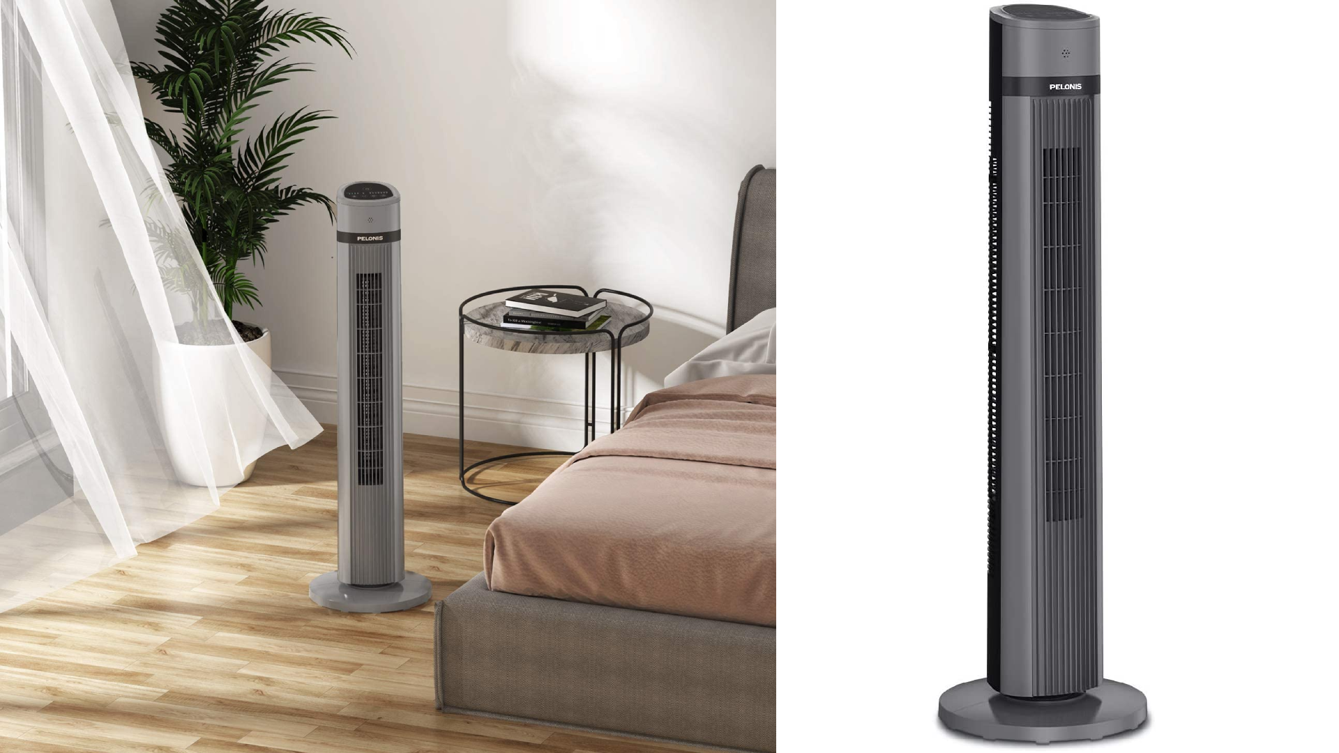 tower fan in bedroom by a bed