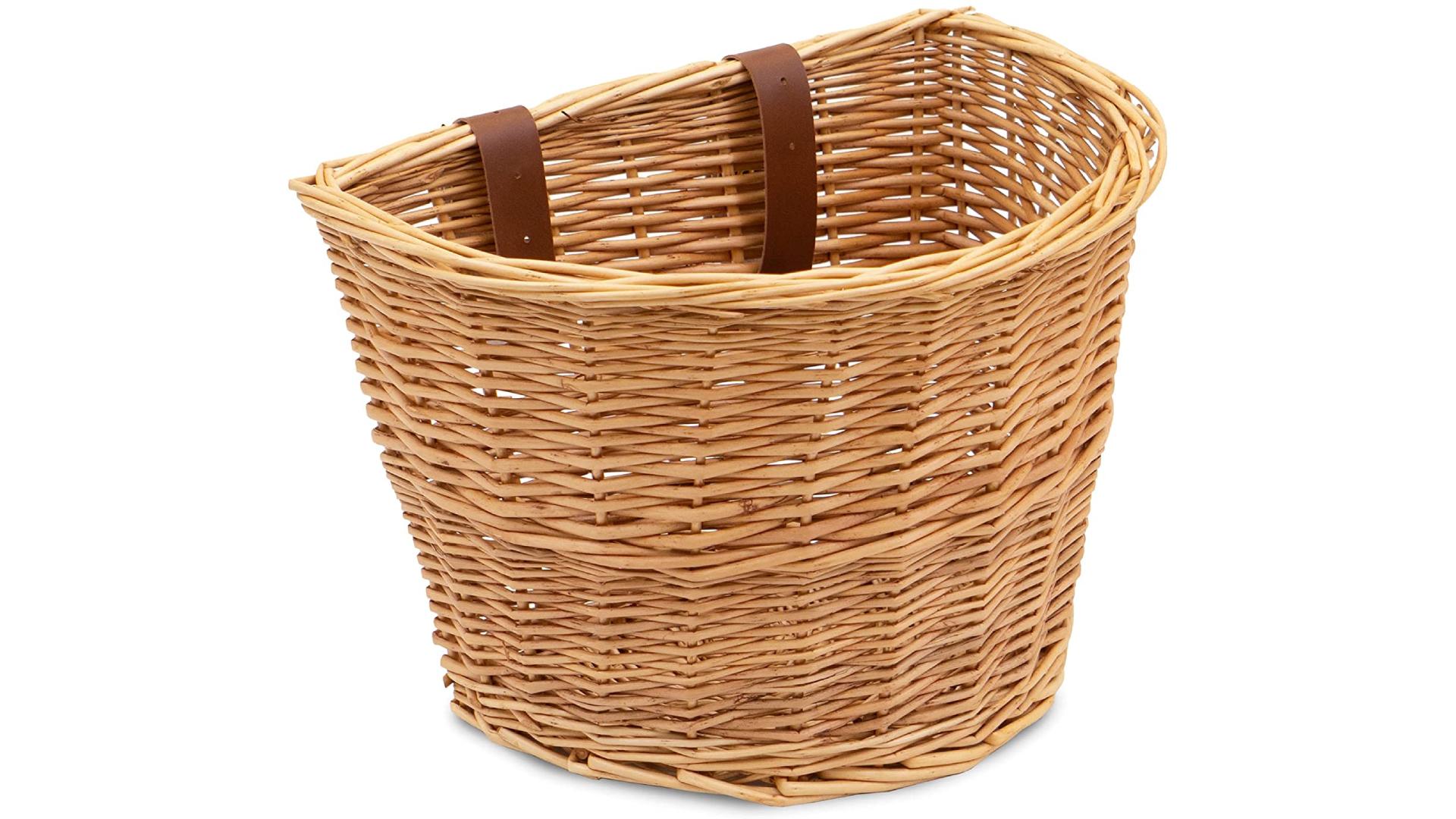 a wicker basket in a semi-circle shape