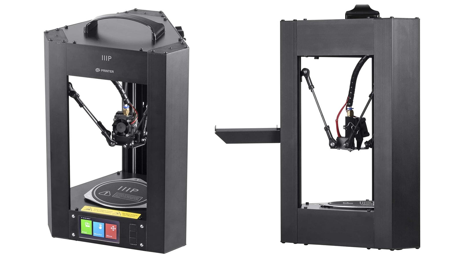 Two views of 3D printer with steel frame.