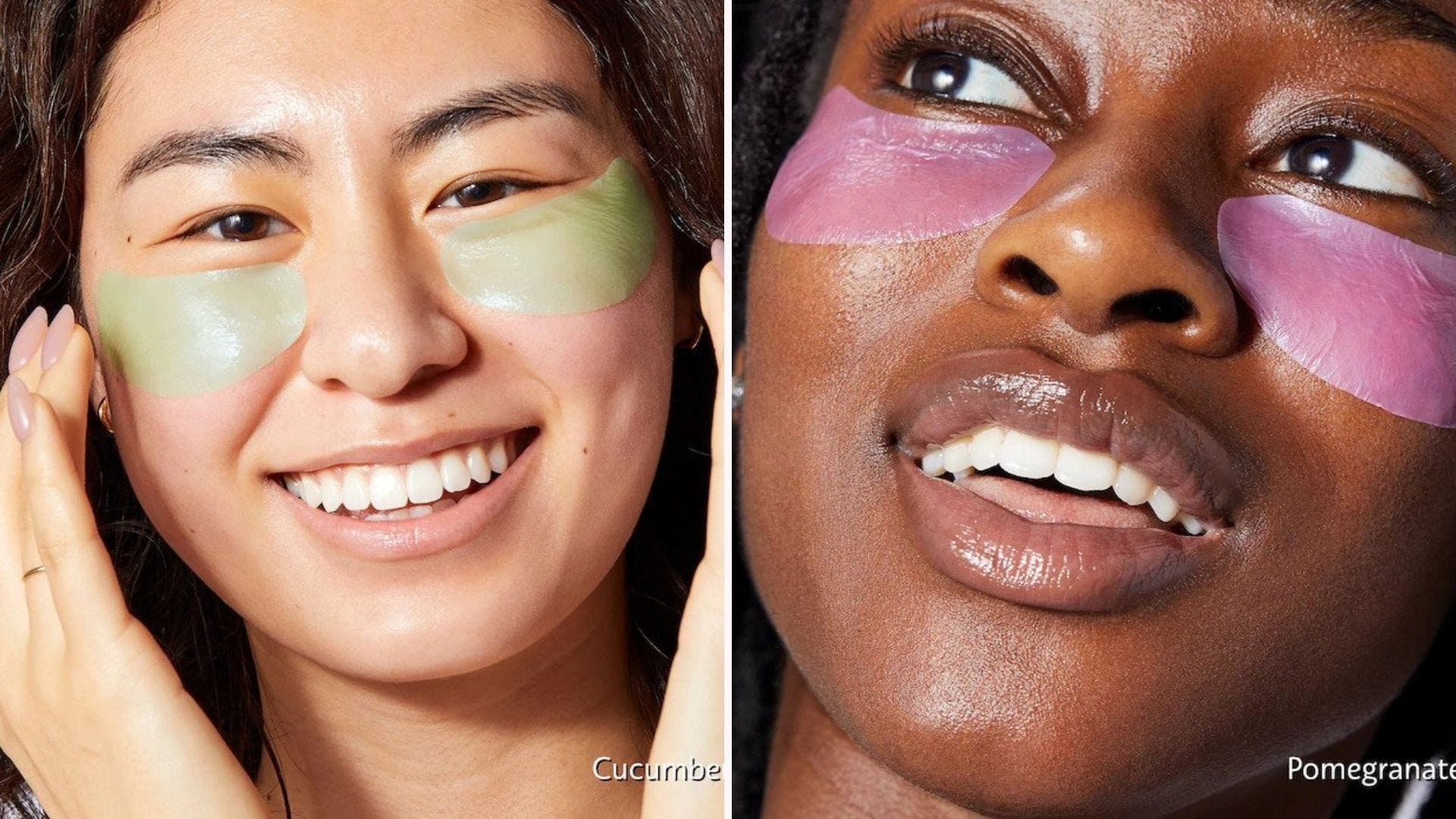 Two women with colorful under eye patches