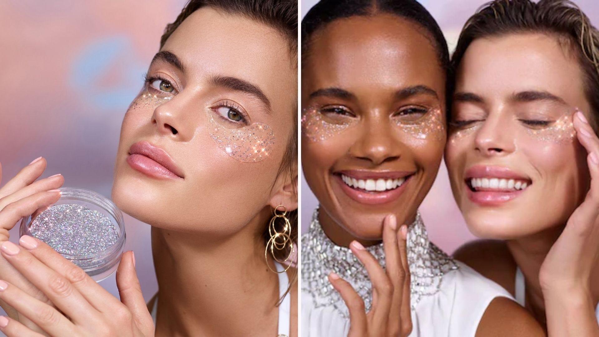 Women wearing transparent glitter under eye patches