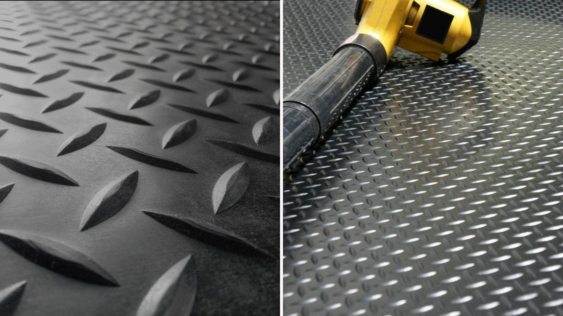 A rubber garage mat with a leaf blower sitting on top of it.