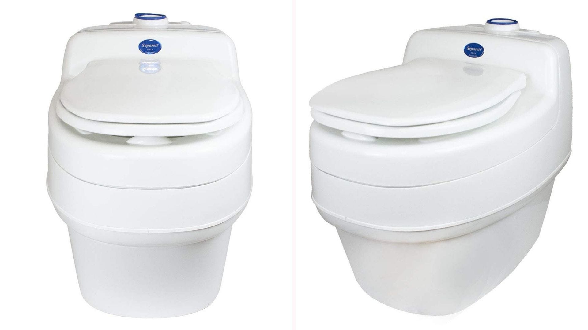 A compact white composting toilet