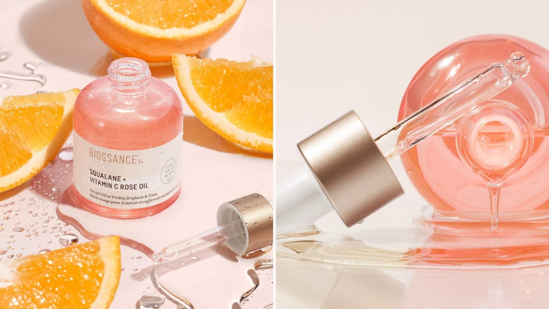 A pink bottle of facial oil sitting among orange slices; the bottle on its side with oil flowing out