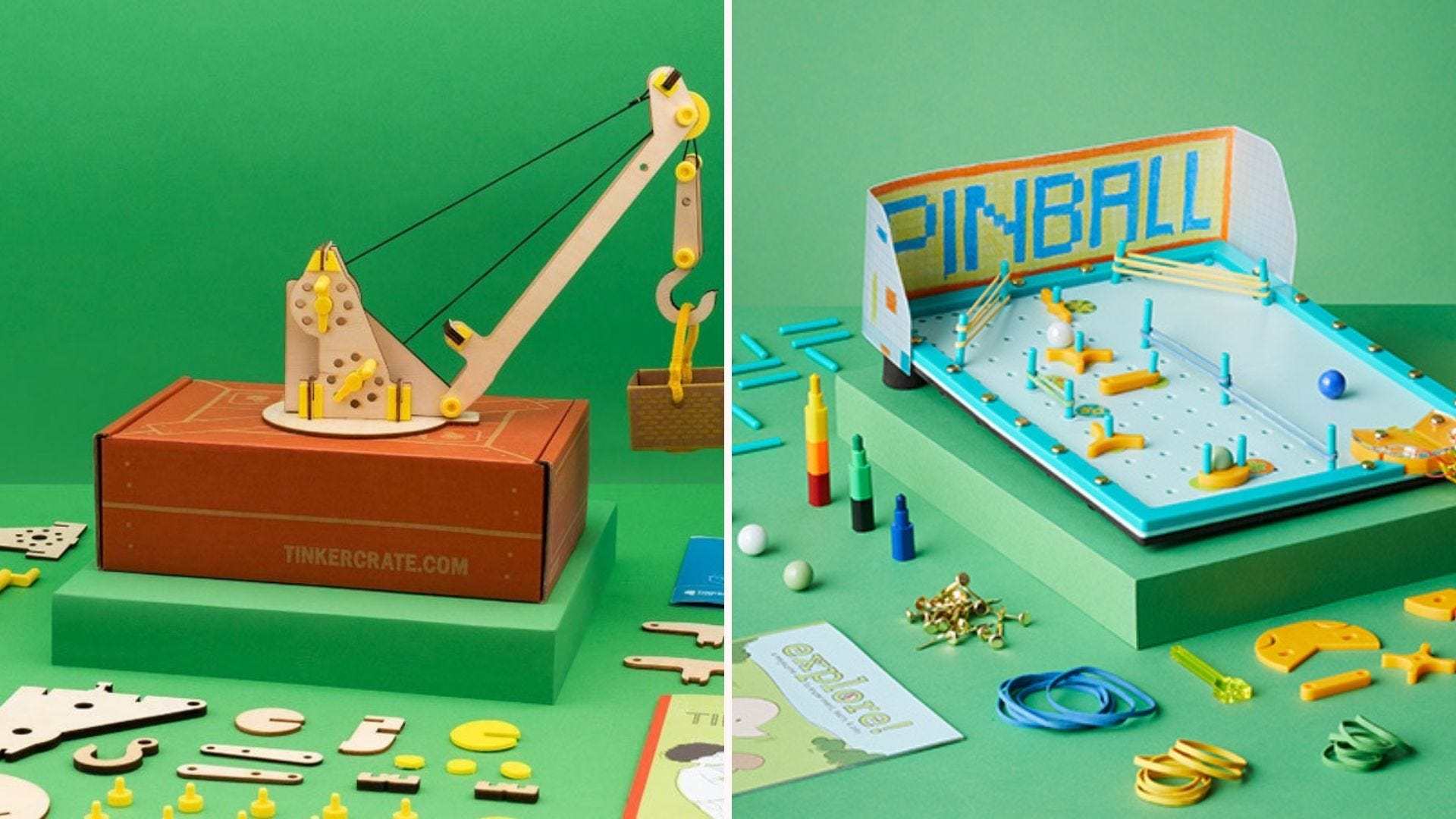 A mini crane and a pinball game, with parts around them, on green backgrounds