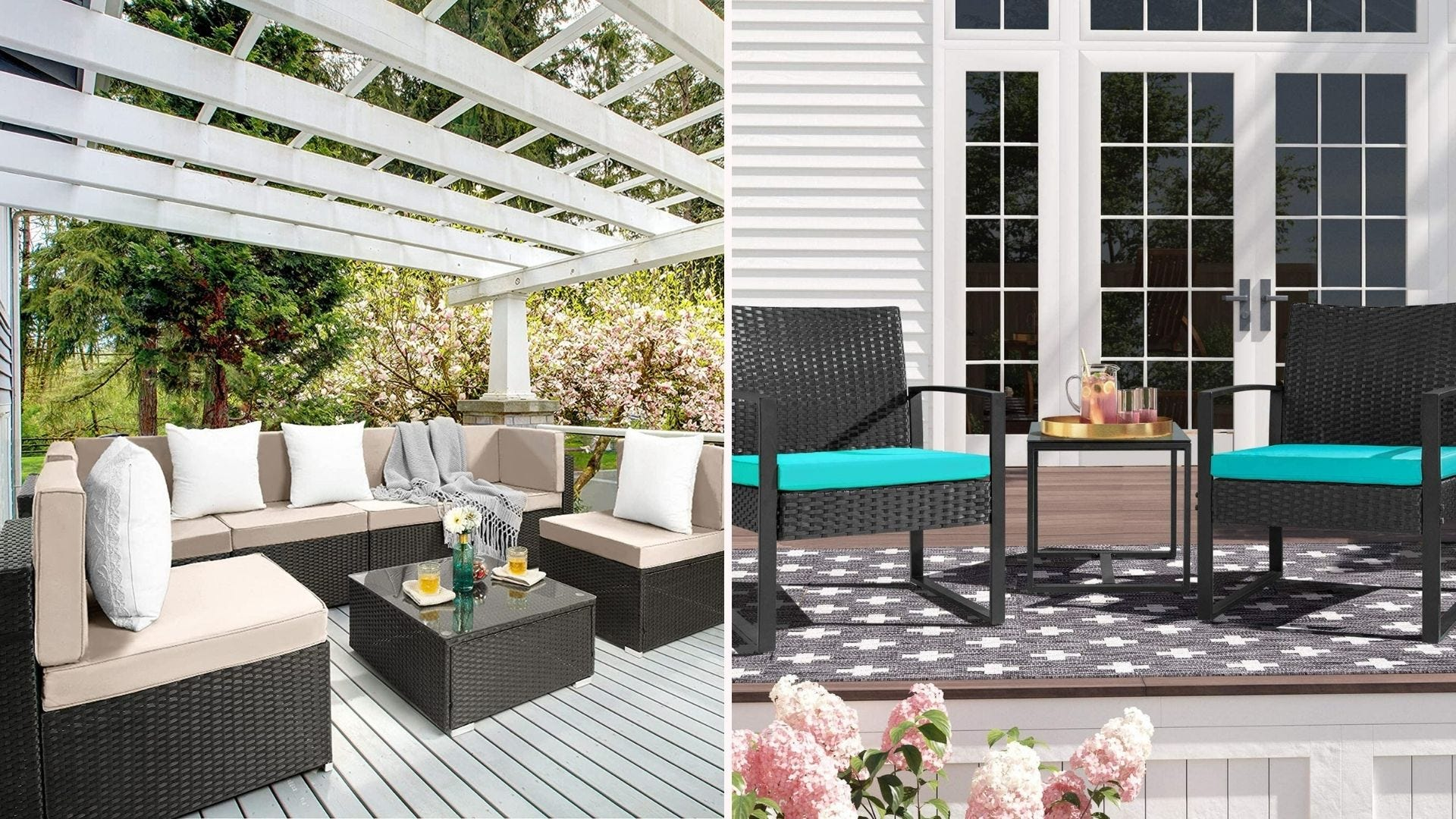 A beige outdoor sectional set; a pair of black patio chairs with teal cushions on a patio
