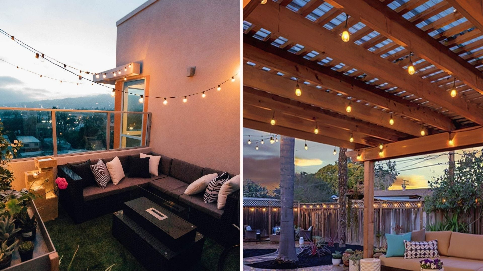 Two patio spaces with string lights hanging from above
