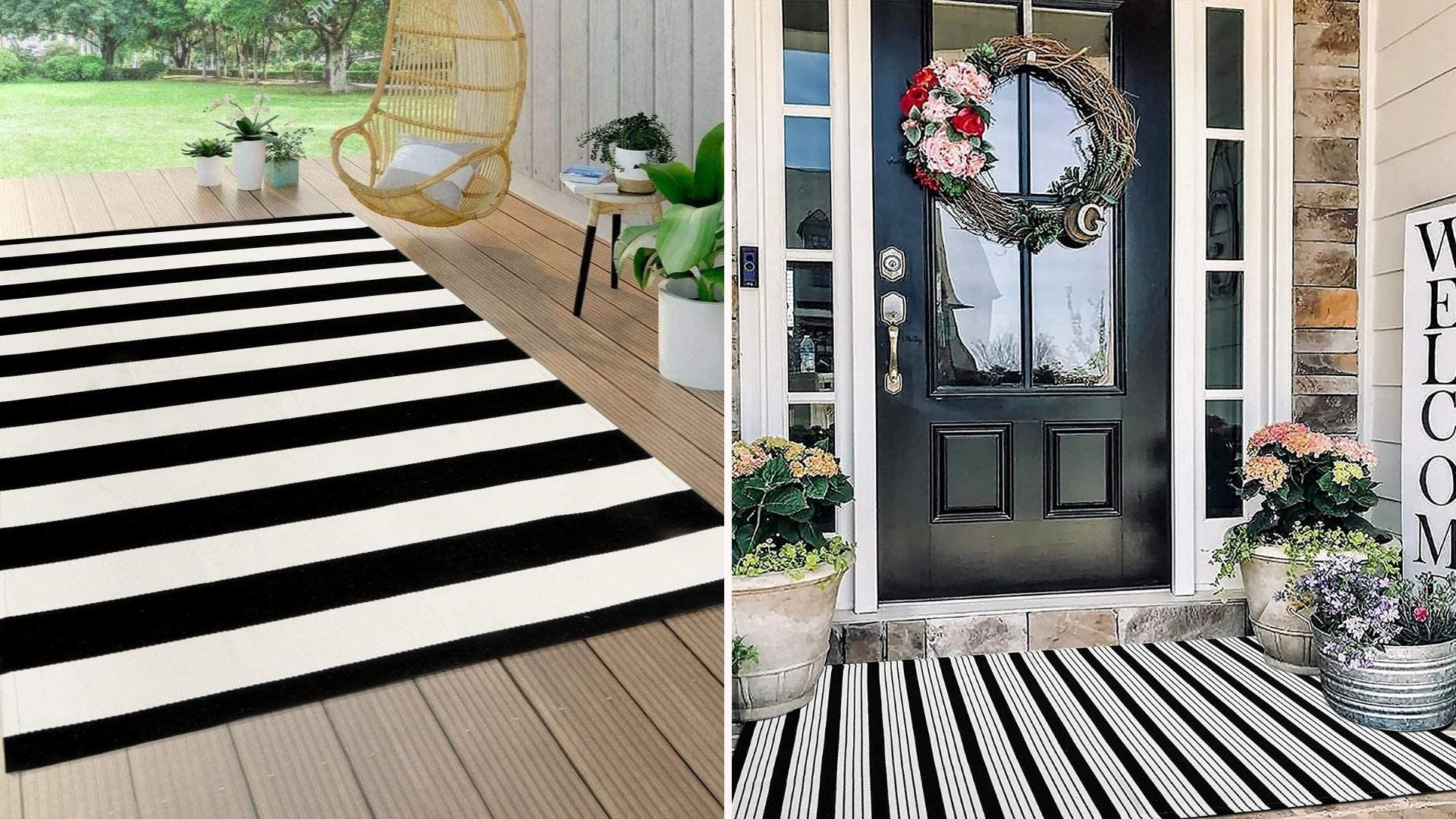 A black and white striped rug on a porch; a black and white striped rug in front of a door