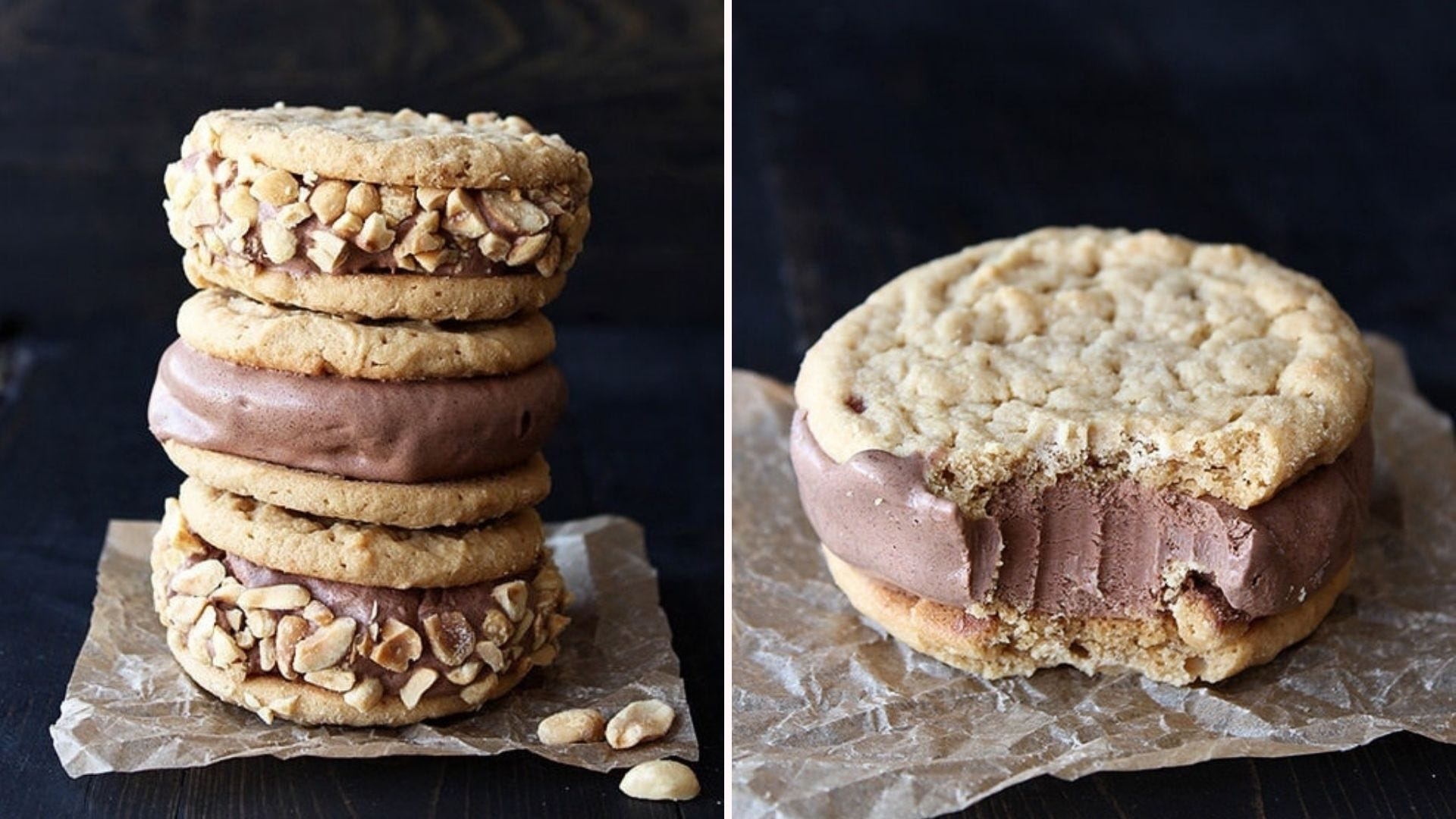 A stack of peanut butter chocolate ice cream sandwiches; one sandwich with a bite taken out