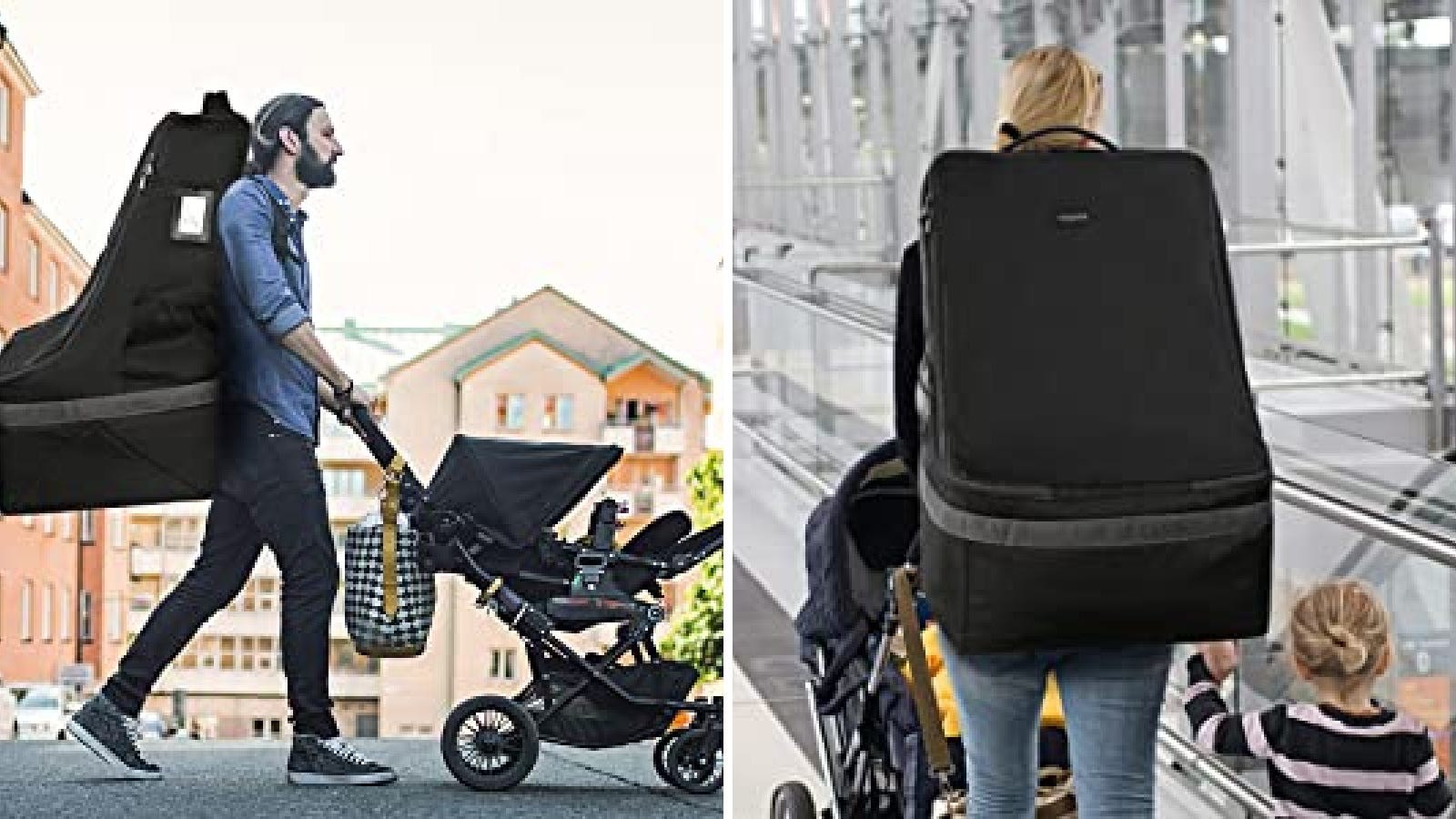 Two images featuring the YOREPEK car seat bag.