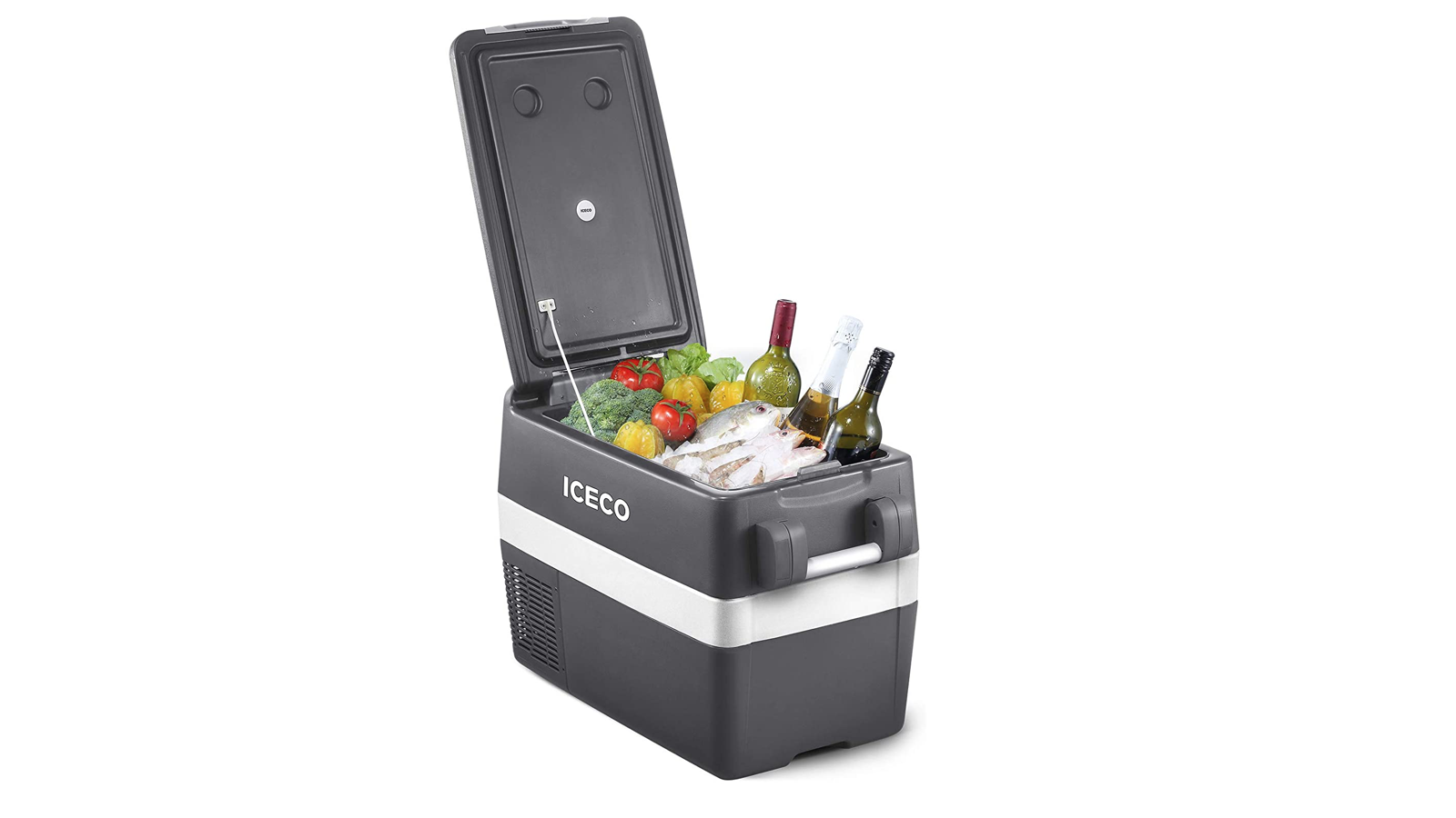 gray and white chest freezer with handles open to show vegetables and wine inside