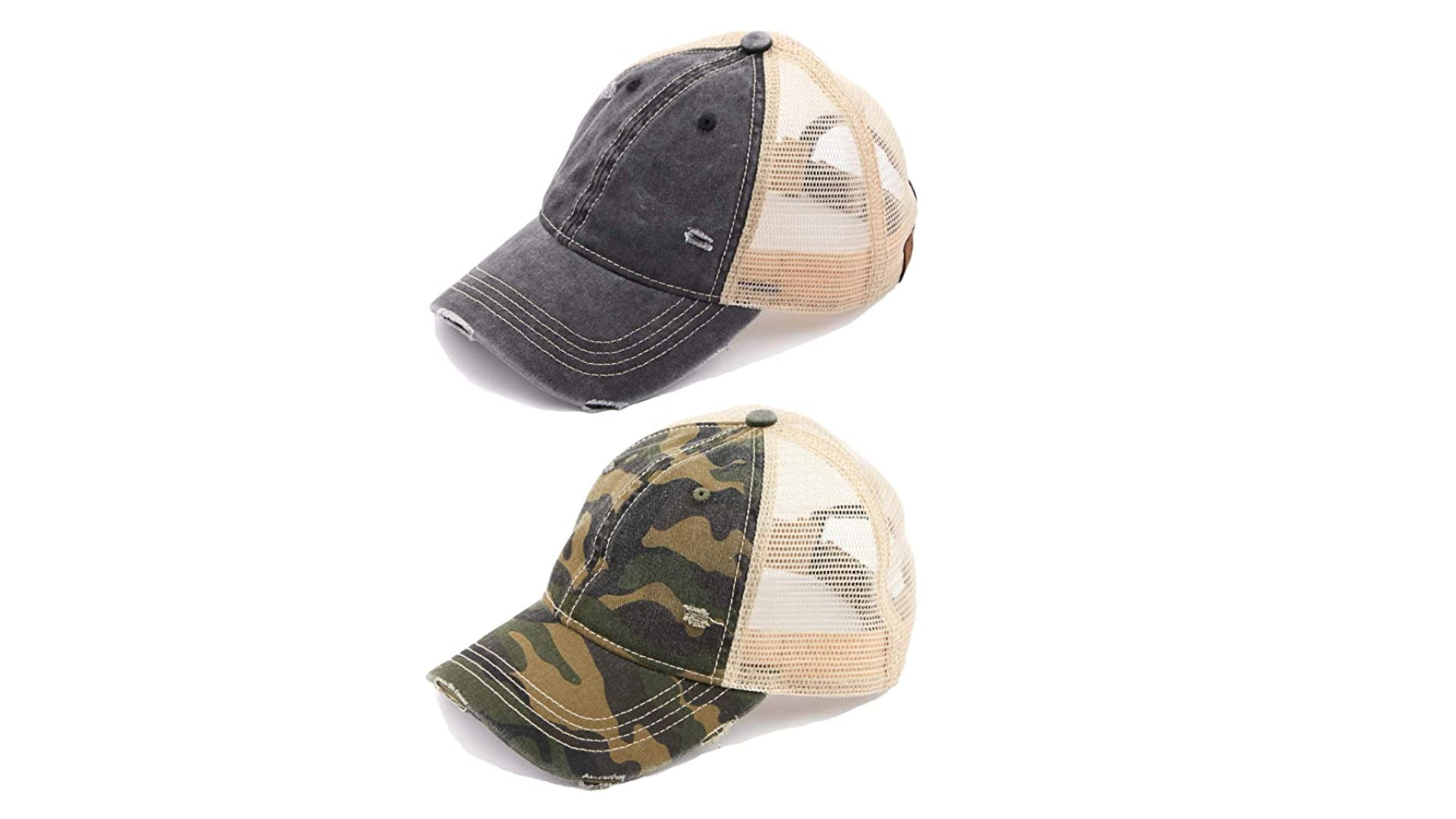 On top, a blue hat with a white mesh back. On the bottom, a camouflage hat with white mesh.