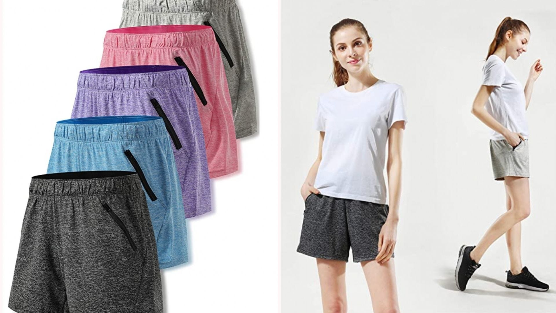 five of the same athletic short in different colors; a woman models the black and gray colors
