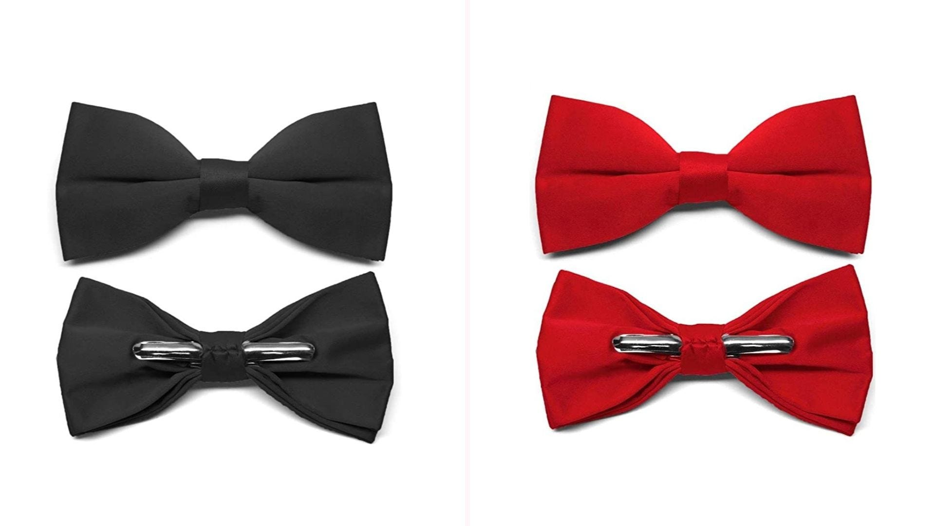 A front and back view of one black bow tie and one red bow tie.