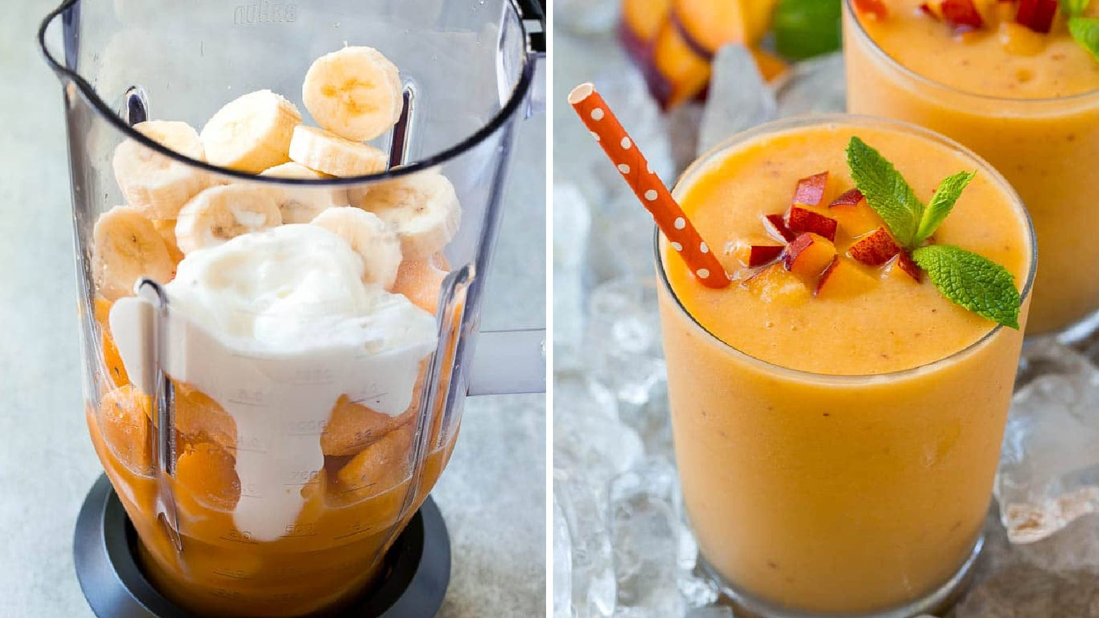 Two images featuring a peach smoothie. The left is the blender filled with all ingredients used to make the smoothie and the right image is the finished product garnished with mint leaves and diced peach.