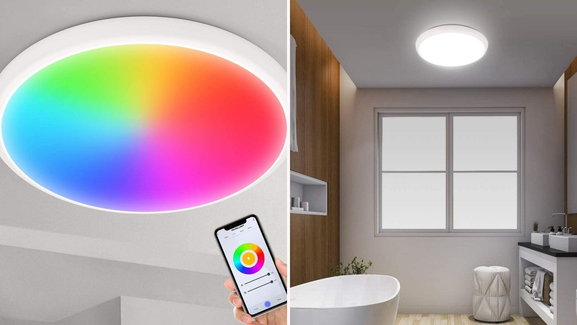 multicolored ceiling-mounted light being app-controlled; the light can also be plain white light