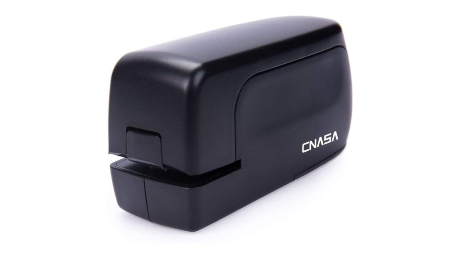 A black compact electric stapler with an AC adapter.