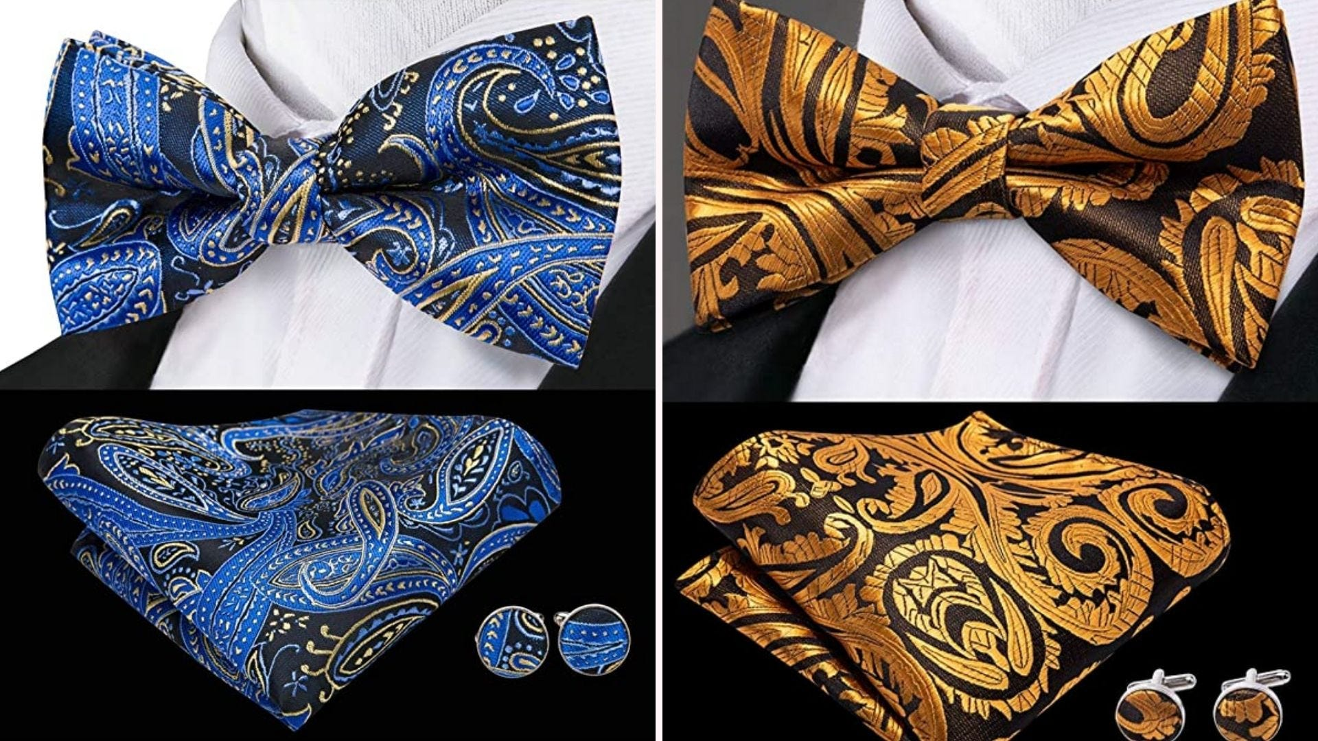 Two bow ties with matching pocket squares and cufflinks.