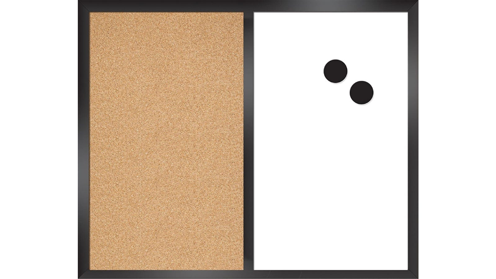A bulletin board vertically split in half with cork board on the left and white board on the right.