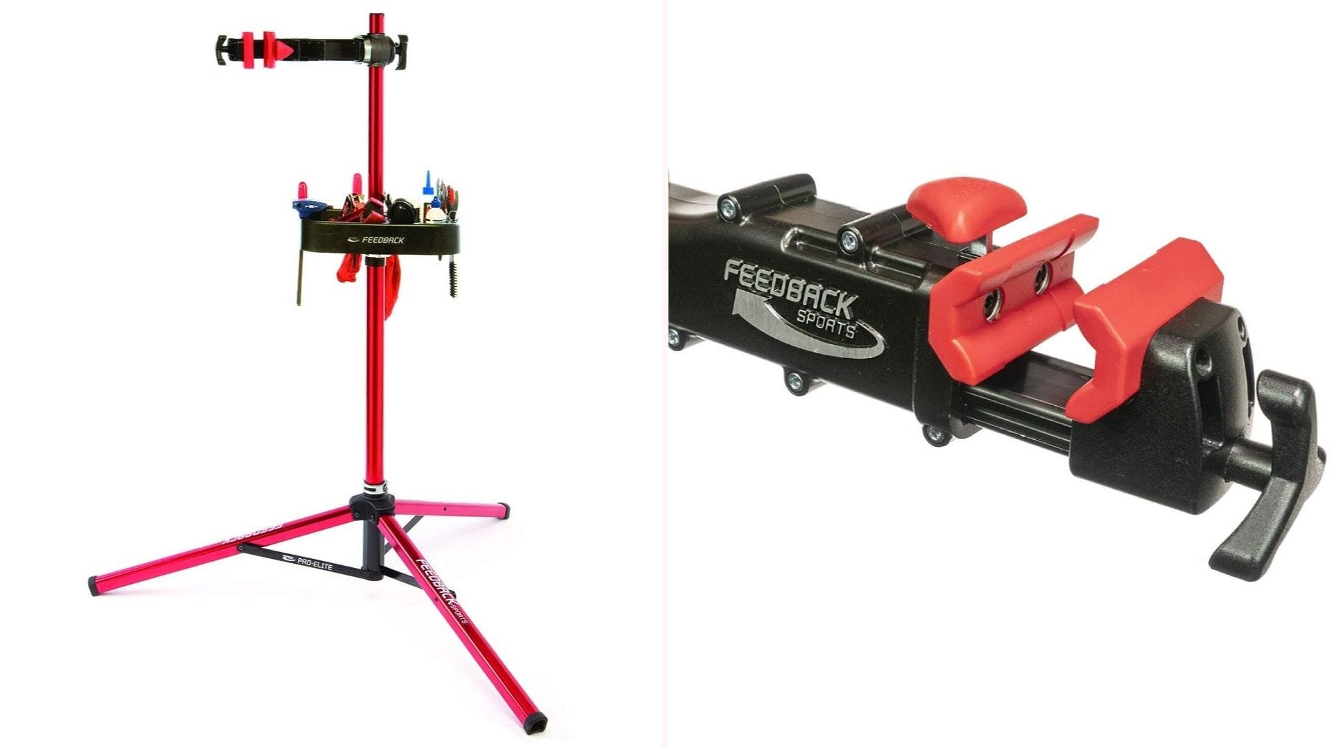 On the left, a red bike stand with three support legs. On the right, a clamp with red accents.