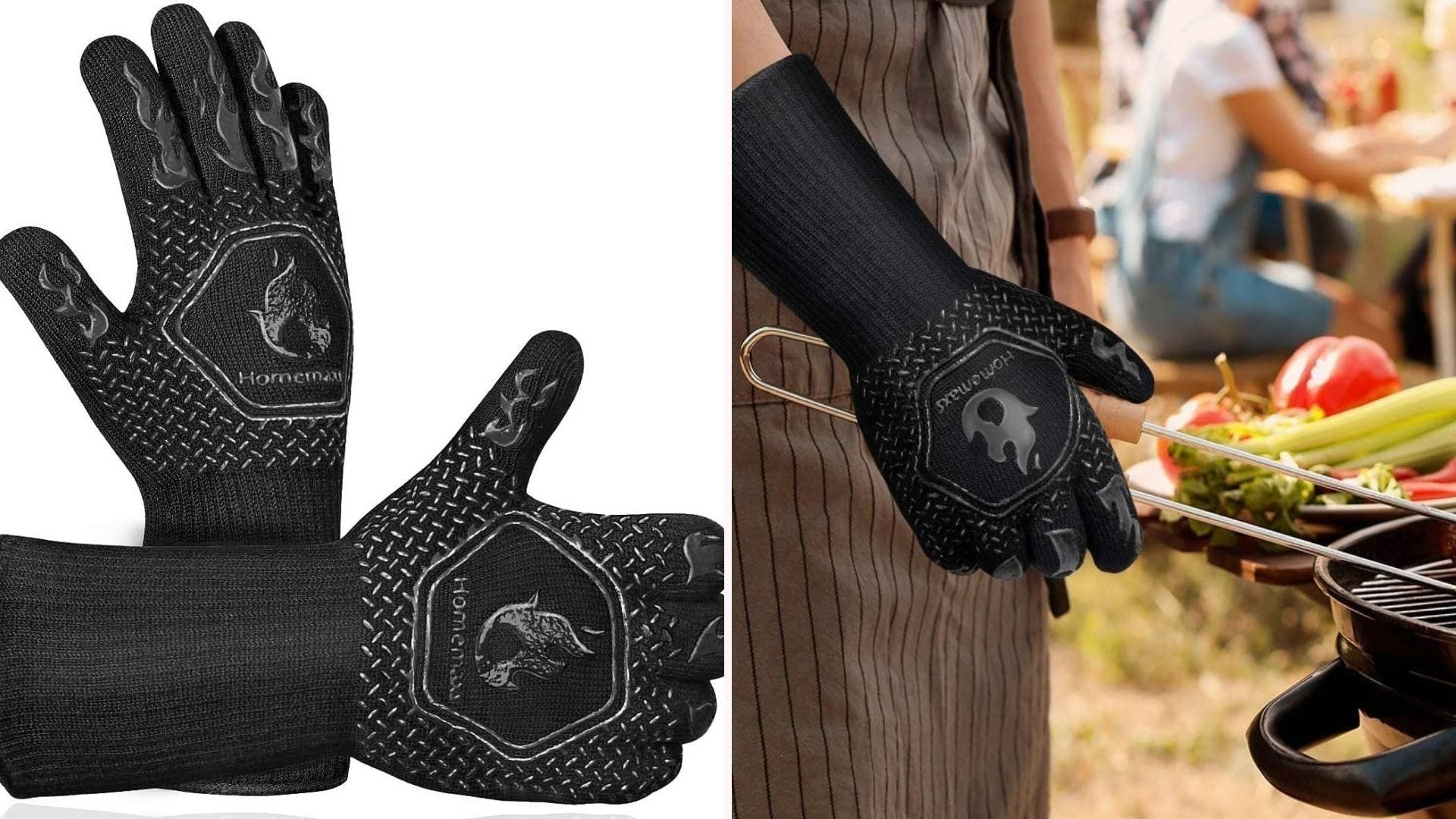 two black grilling gloves; one is shown on a hand of a person at the grill