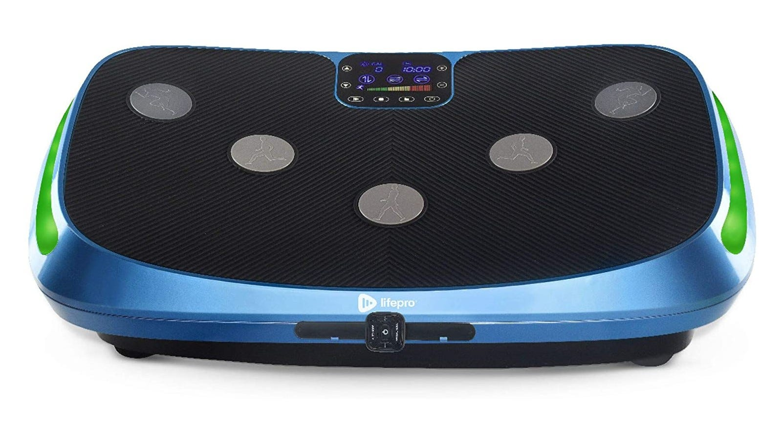 A lifepro vibration plate with five small silver discs on the top and green lights on the side