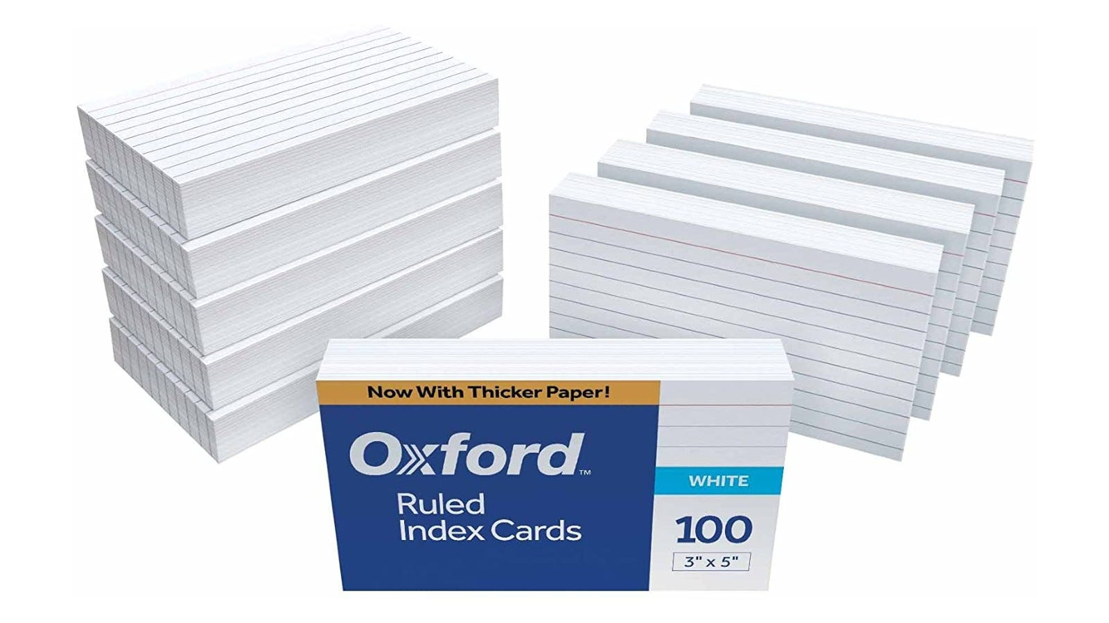 10 stacks of white Oxford ruled index cards