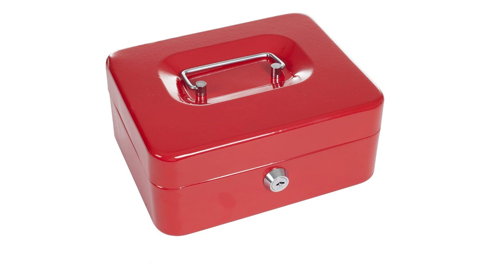 a red metal cash box with a silver lid and a lock