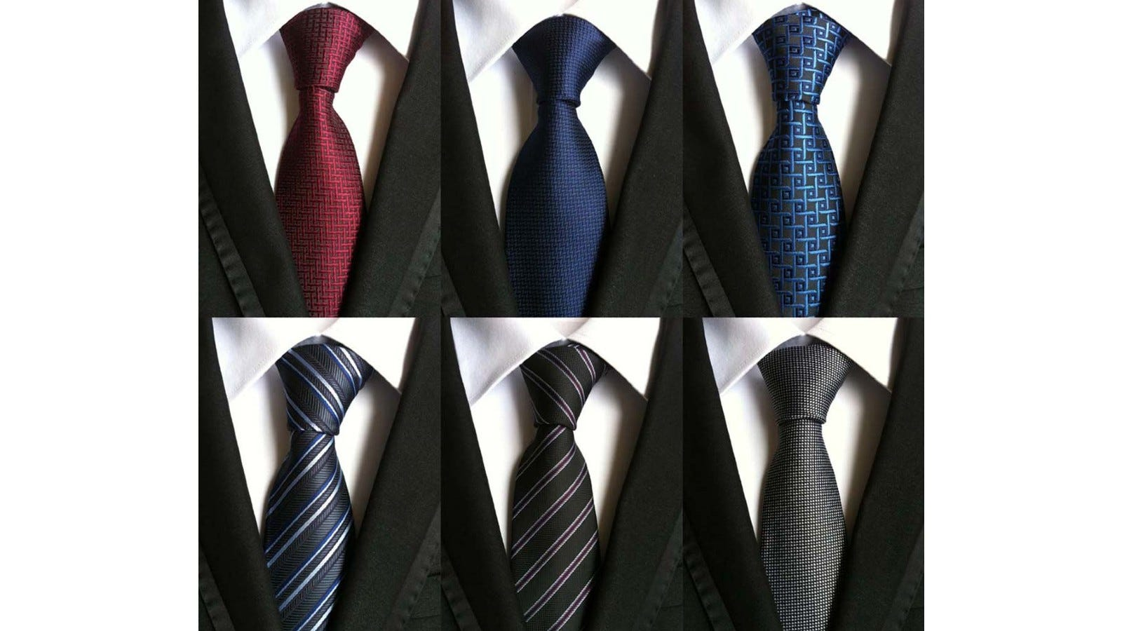 Six neckties featuring simple yet classic designs