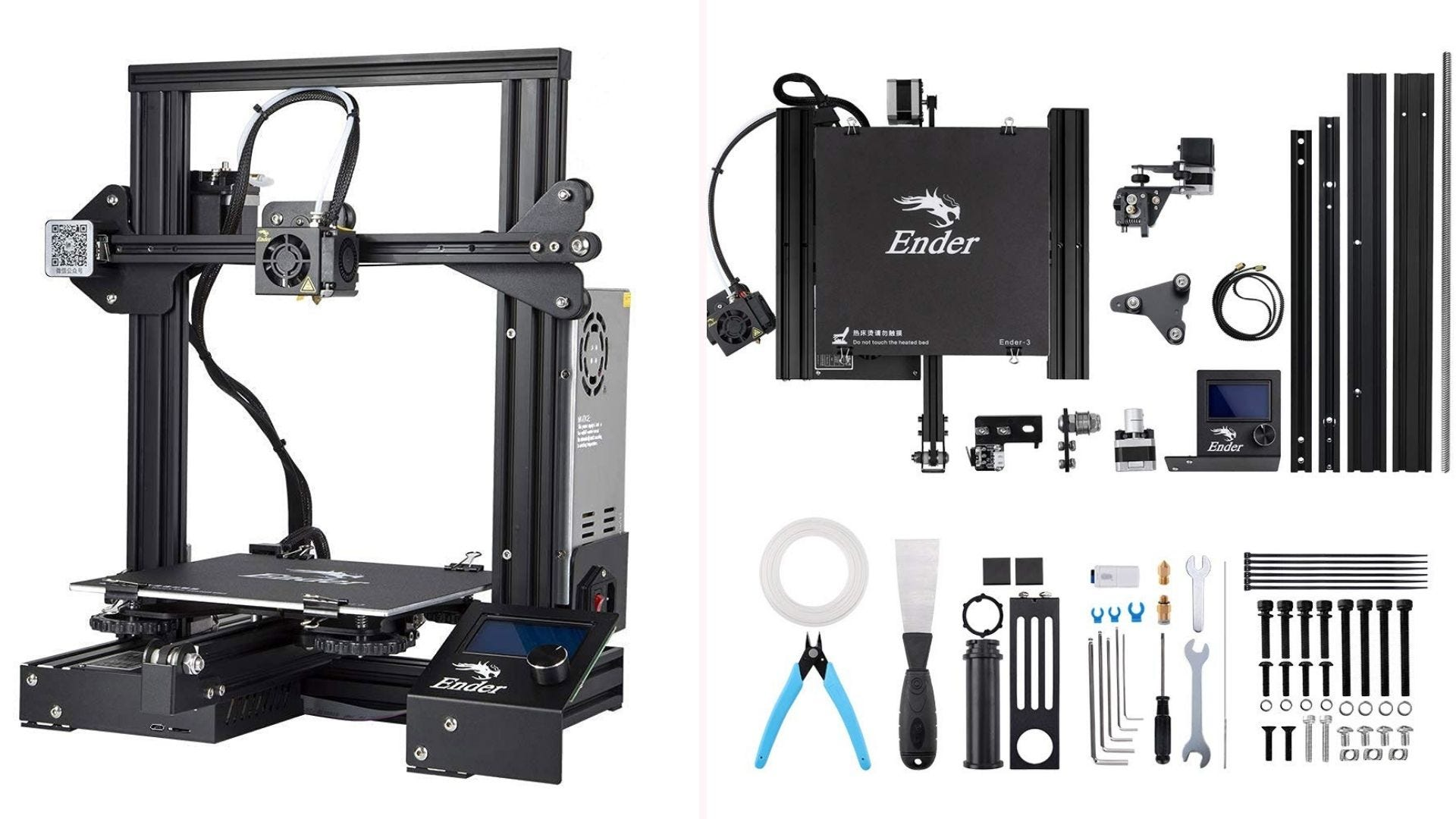 On the left, a FFF 3D printer. On the right, an assortment of tools and equipment.