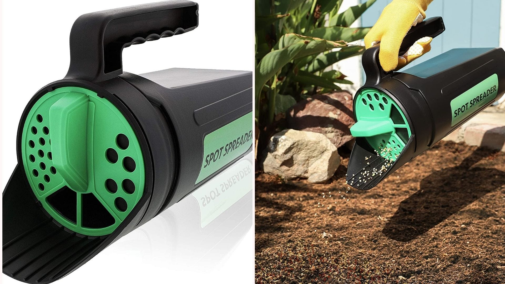 a handheld green and black seed spreader
