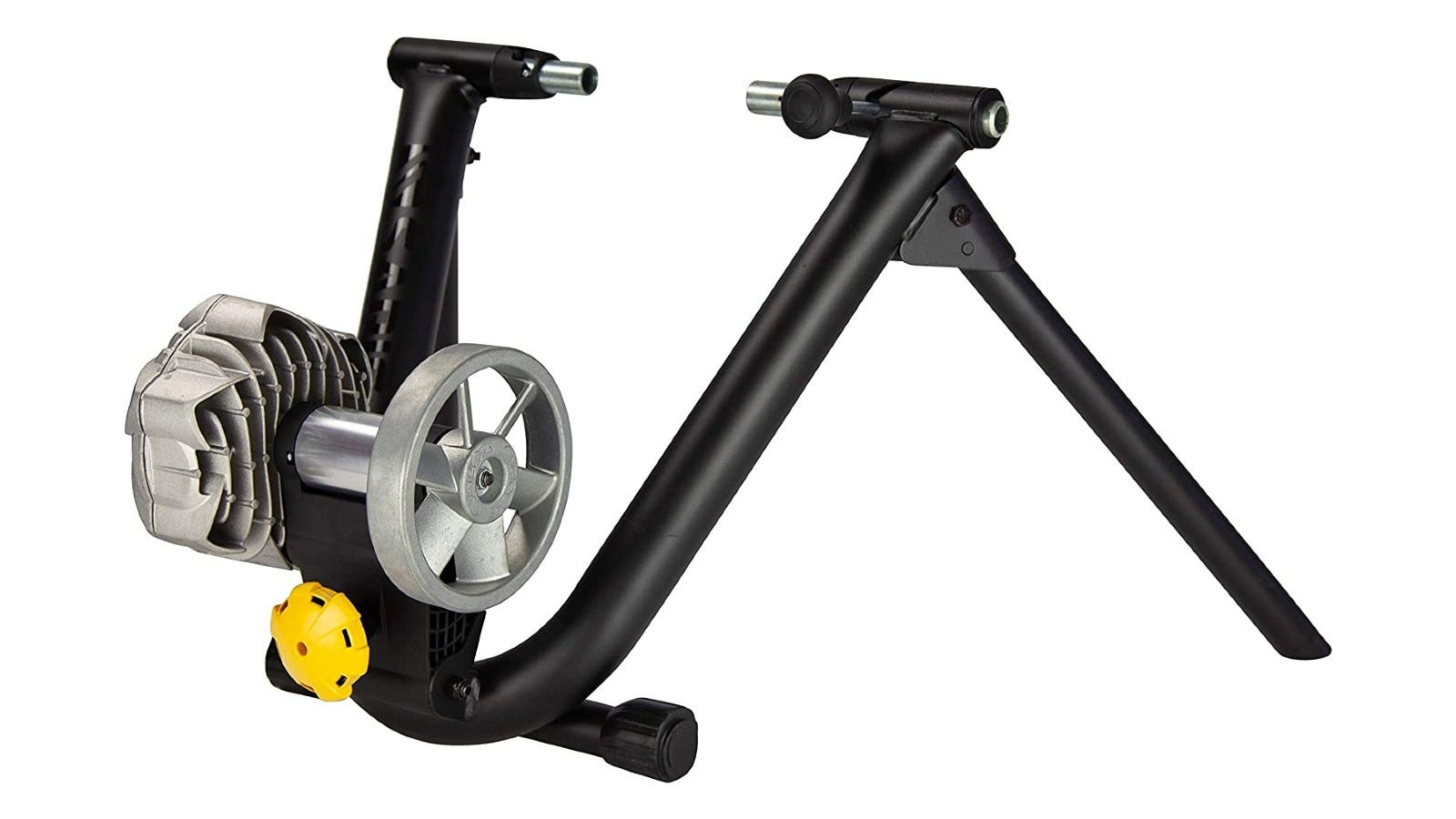 A black bike trainer with grey attachments.