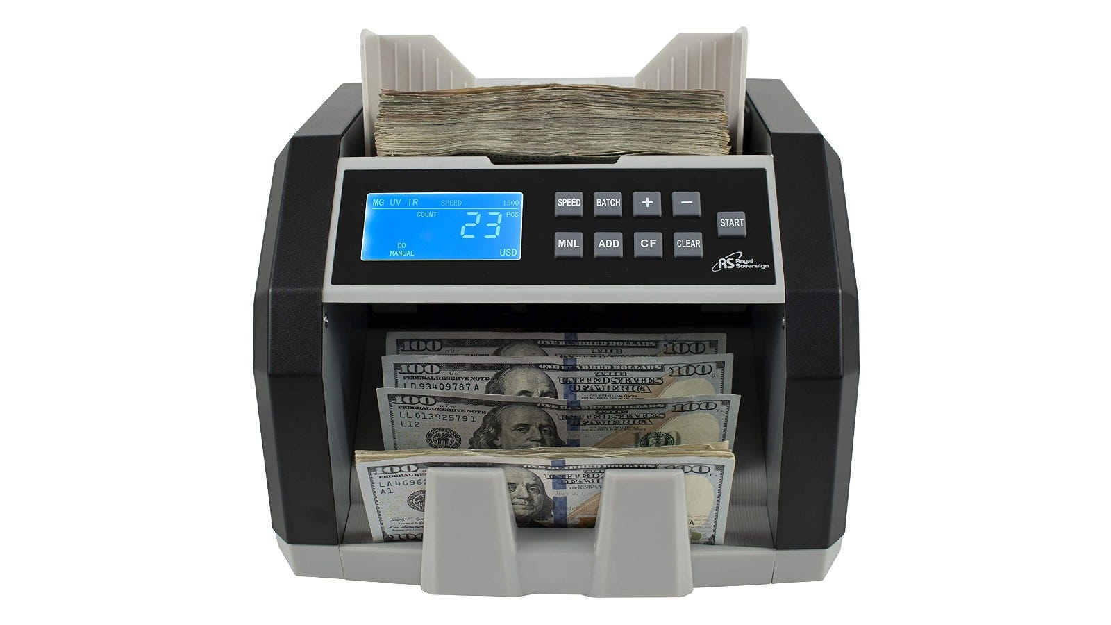 a large bill counter counting bills