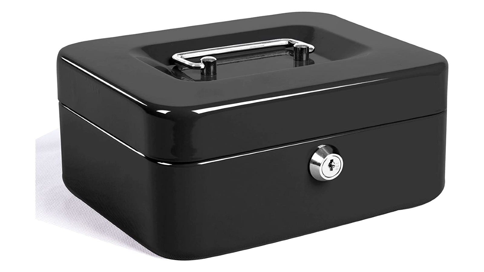A shiny, durable black metal cash box with a silver handle and lock