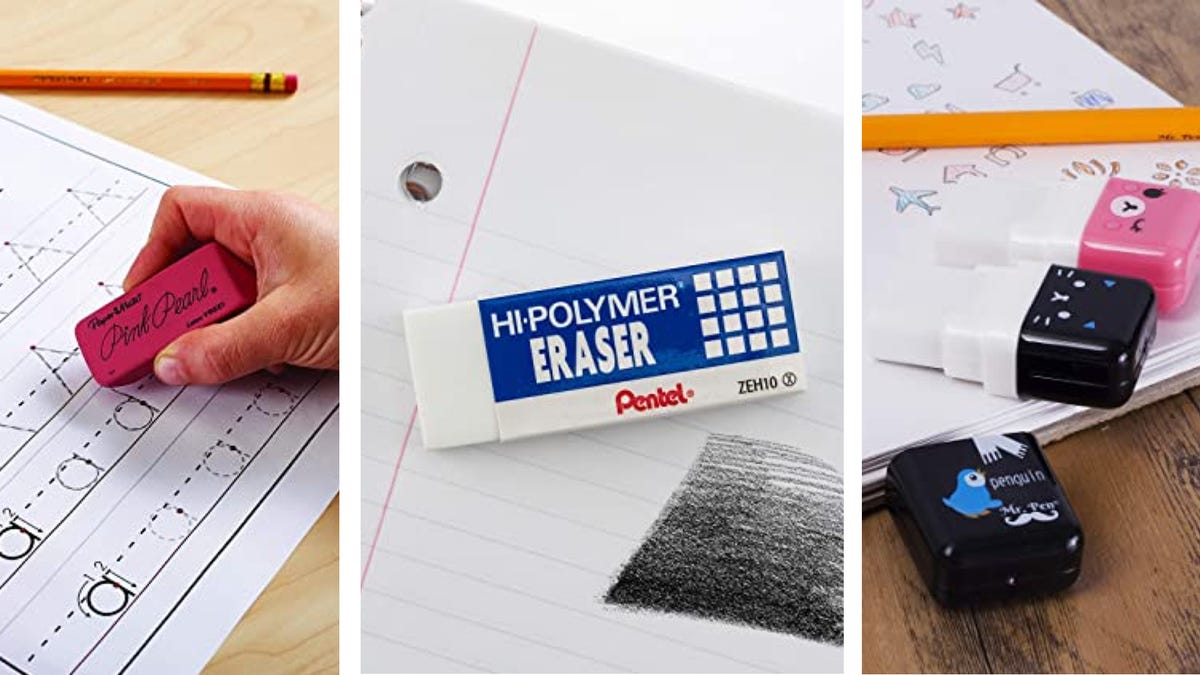 On the left, a person using a pink eraser to remove letters from a page. In the center, a white eraser laying on notebook paper. On the right, roller erasers laying on paper.