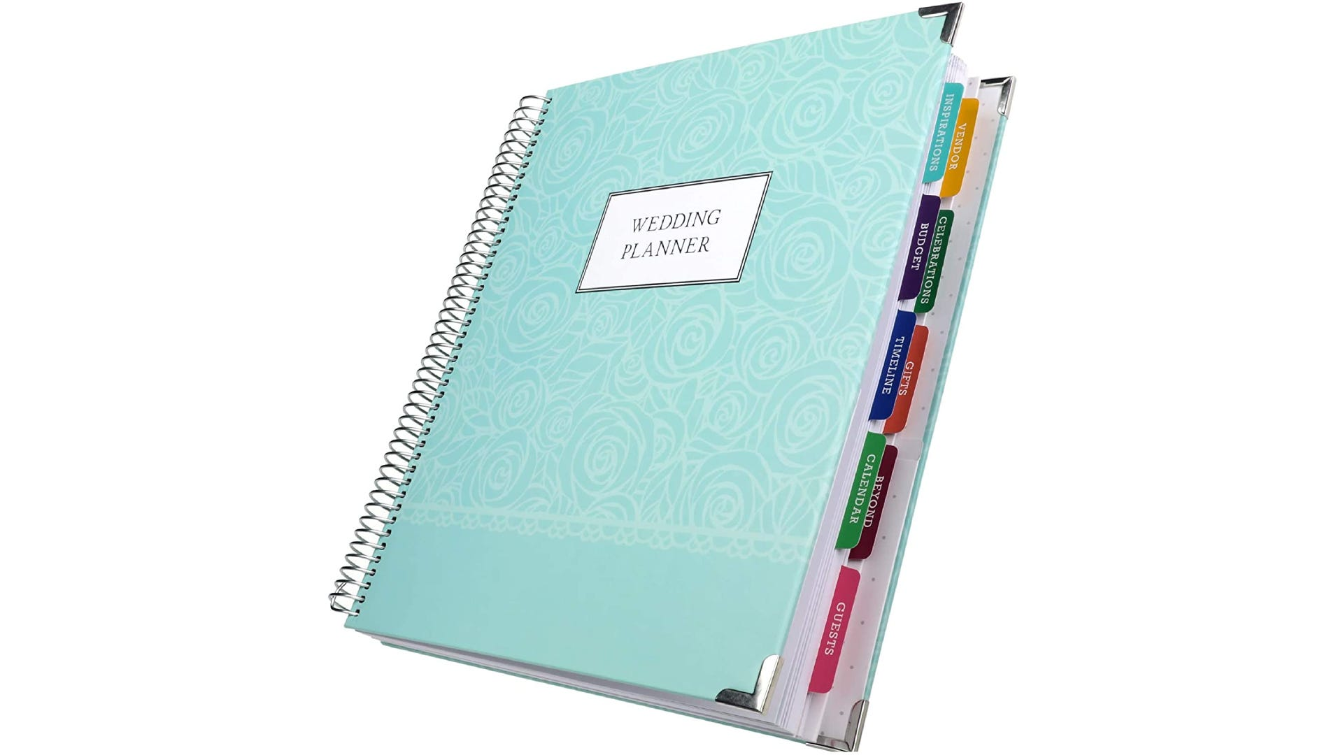 A teal wedding planner with tabbed pages.