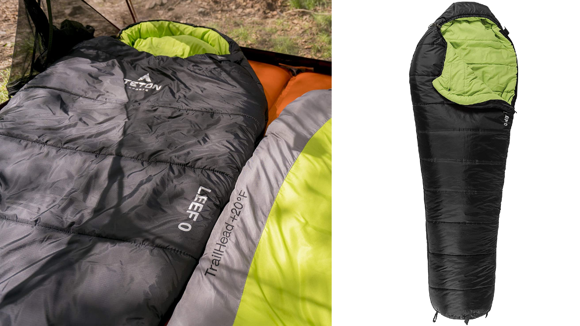 side by side of close up and full sleeping bag