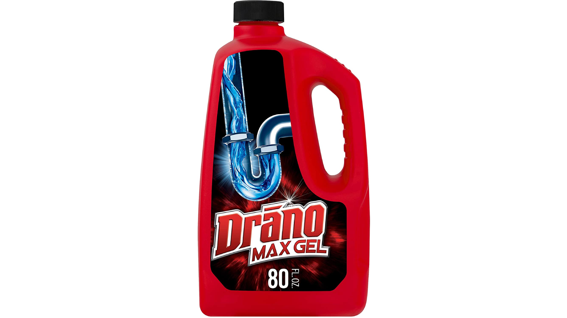 A red bottle of drain cleaner with a side handle.