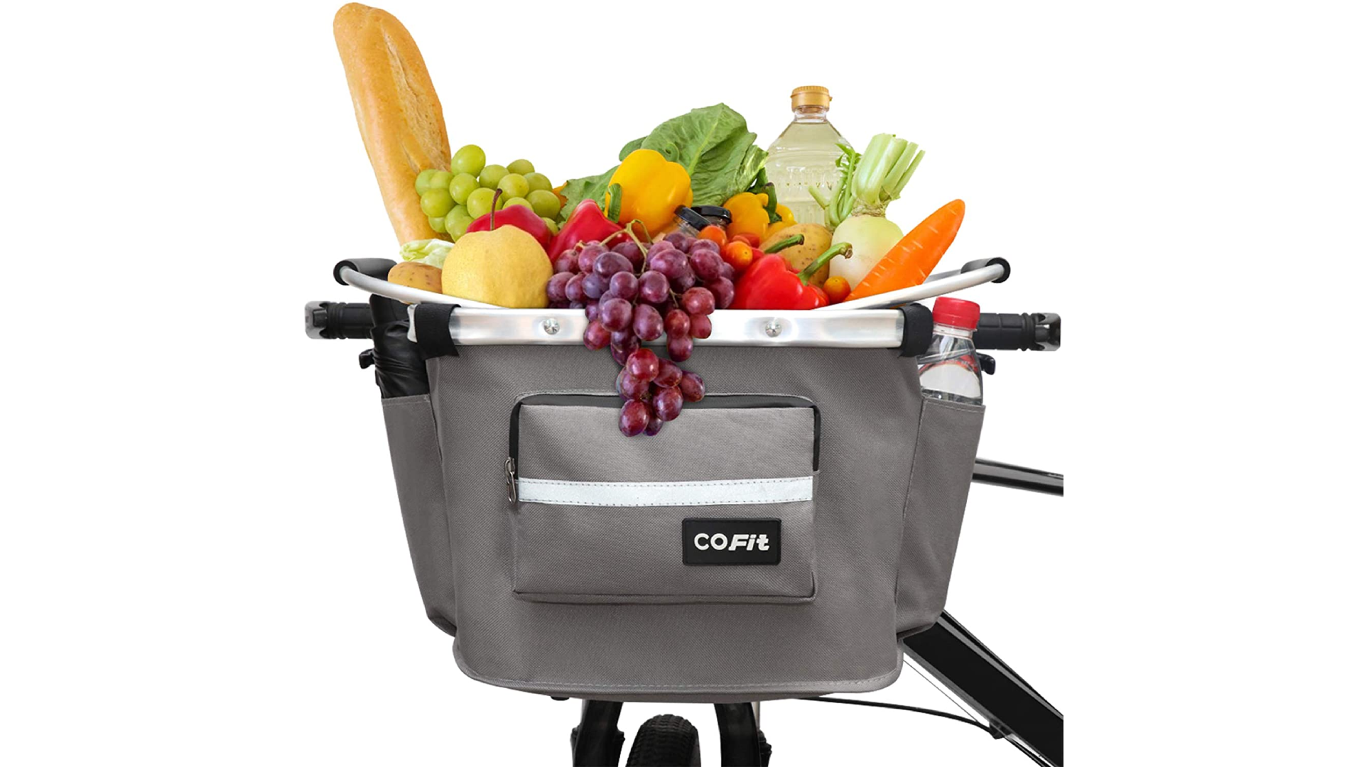 A cooler bike basket with fruits and bread inside it and a water bottle in side pocket